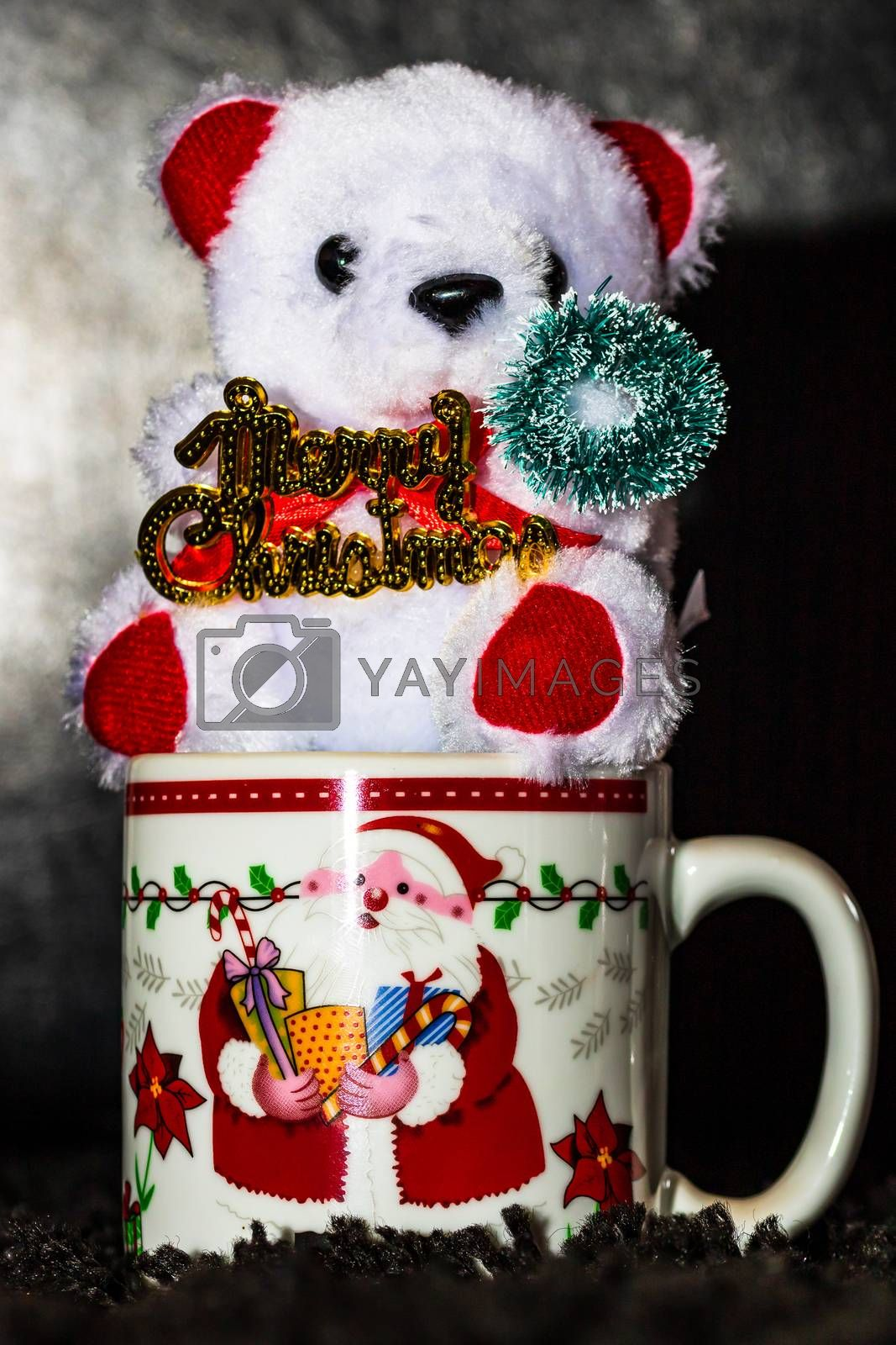 Decorated teddy bear in a Christmas cup isolated on black.  Bucharest, Romania, 2020.