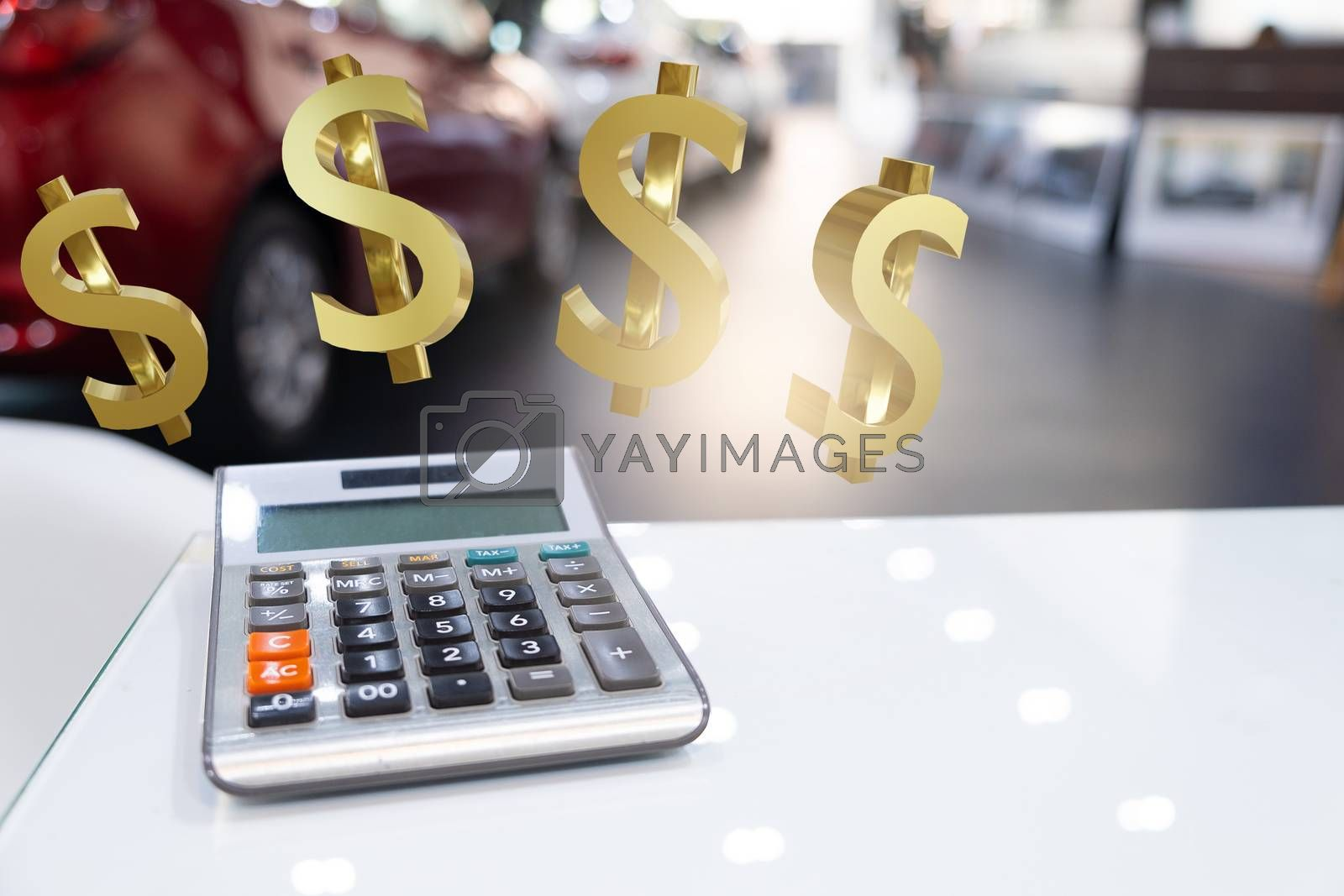 calculator with  dollar 3d render for business finance to car in  showroom blurred background.for automotive automobile or transportation transport
