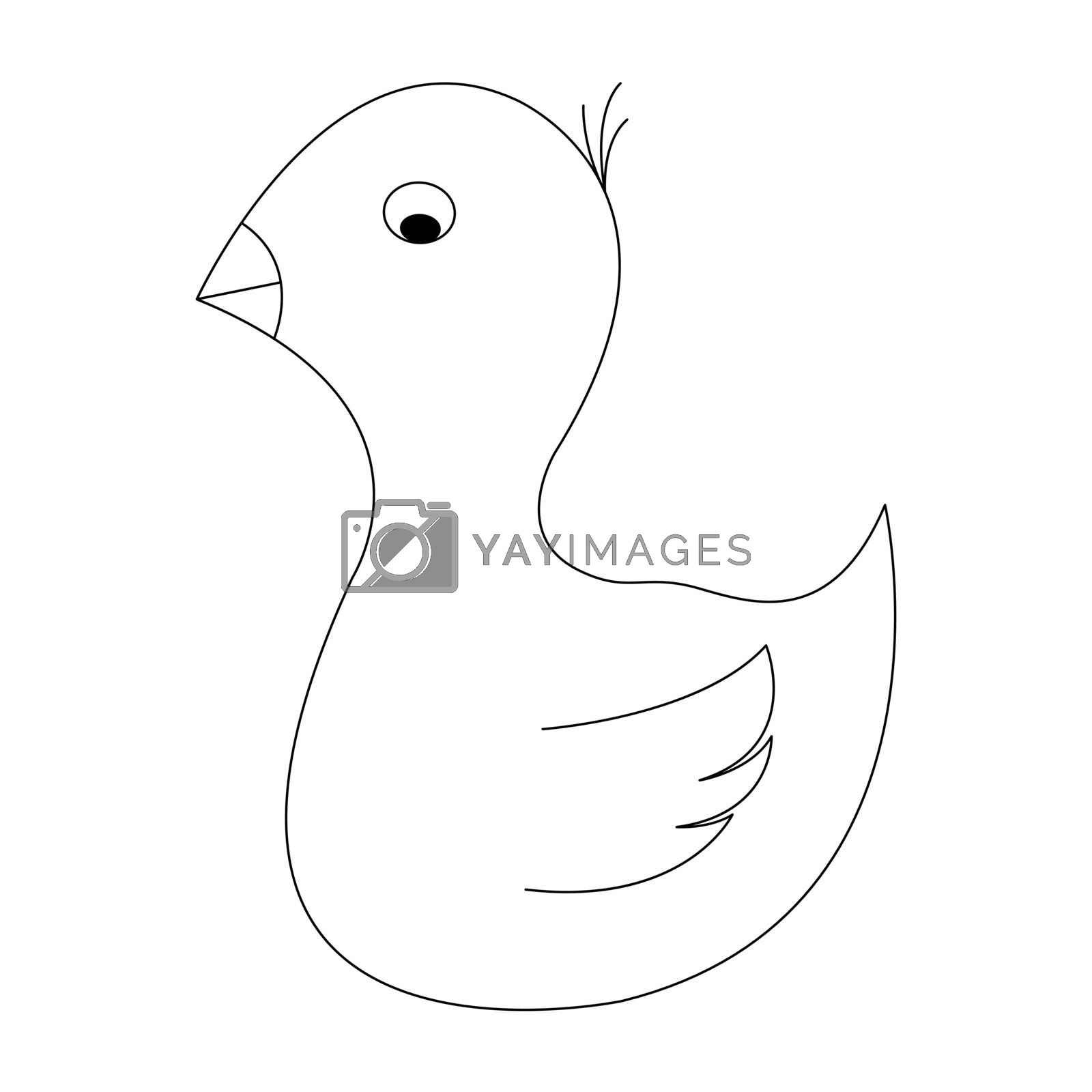 Cartoon bird outline. Vector illustration isolated on white background. Decoration for greeting cards, posters, flyers, prints for clothes.