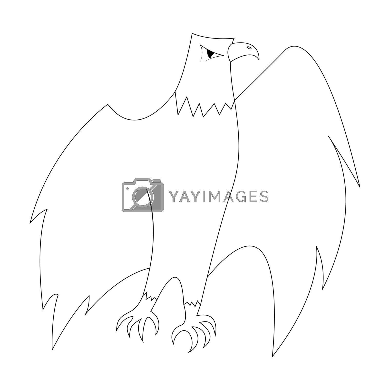 Cartoon eagle outline. Vector illustration isolated on white background. Decoration for greeting cards, posters, flyers, prints for clothes.