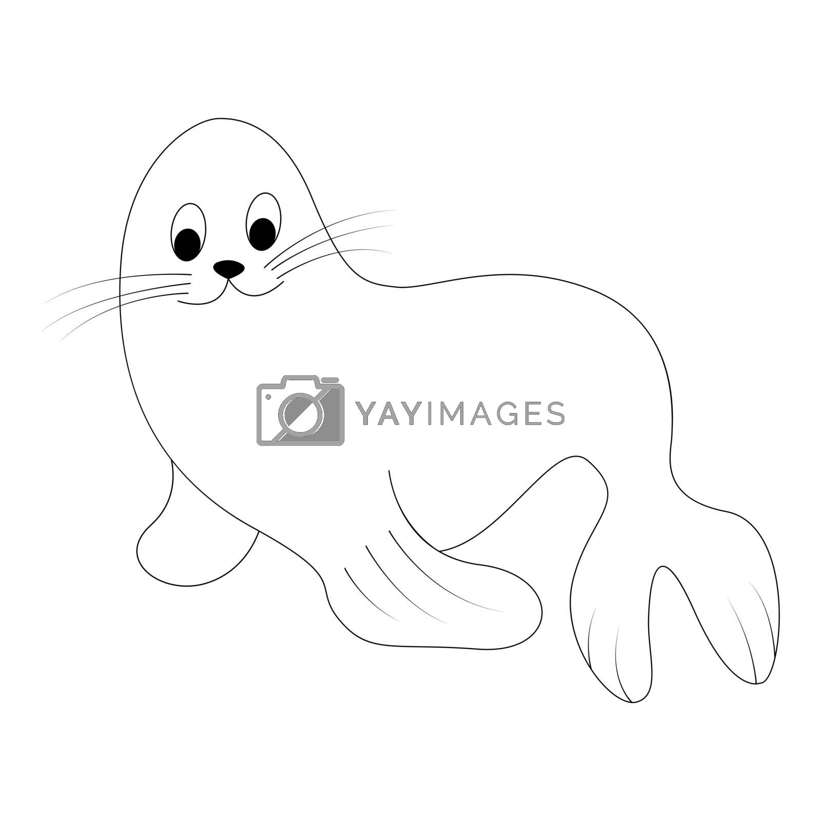 Cartoon fur seal outline. Vector illustration isolated on white background. Decoration for greeting cards, posters, flyers, prints for clothes.