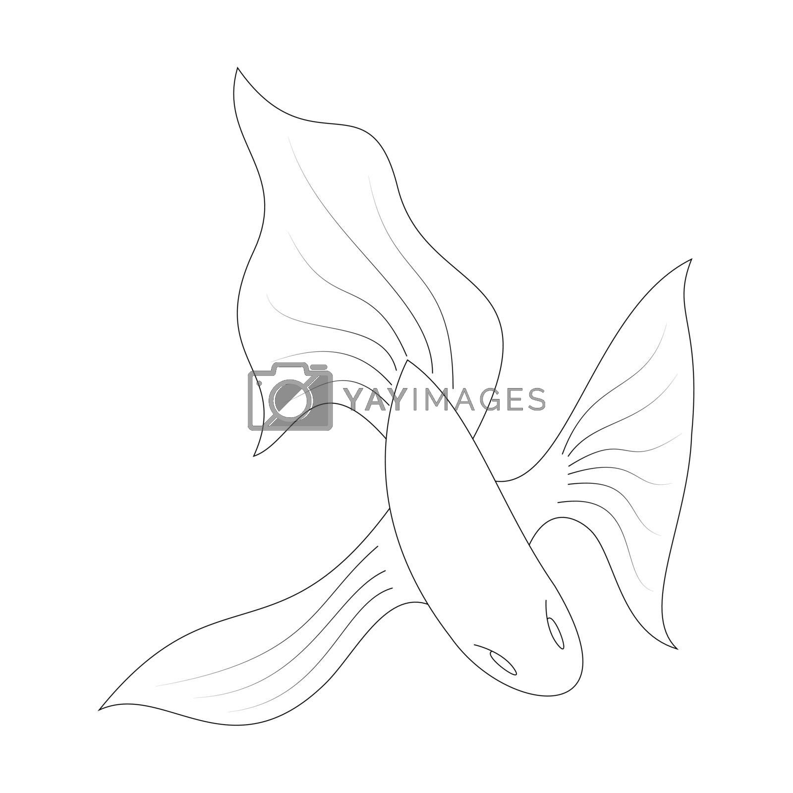 Cartoon goldfish outline. Vector illustration isolated on white background. Decoration for greeting cards, posters, flyers, prints for clothes.