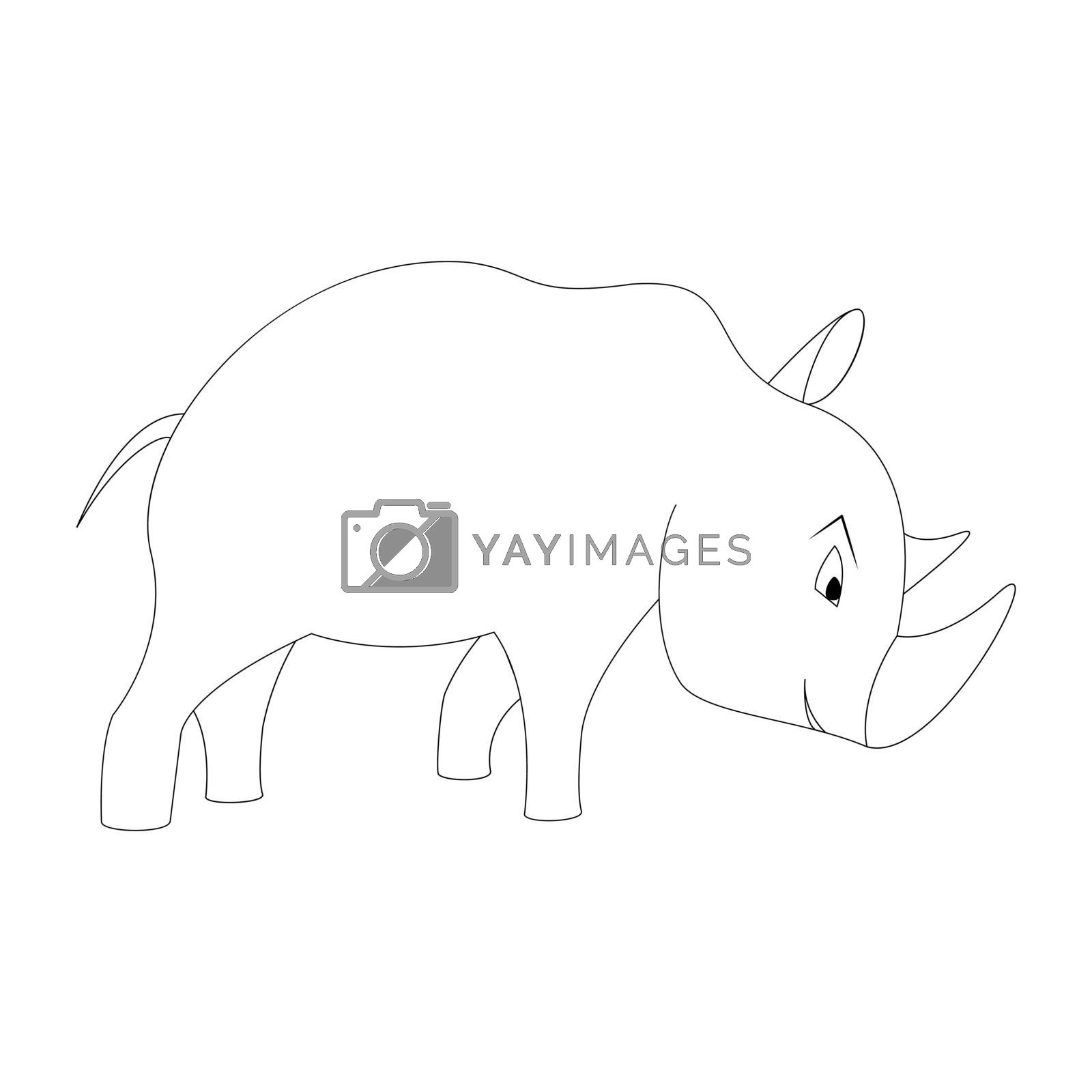 Cartoon rhinoceros outline. Vector illustration isolated on white background. Decoration for greeting cards, posters, flyers, prints for clothes.