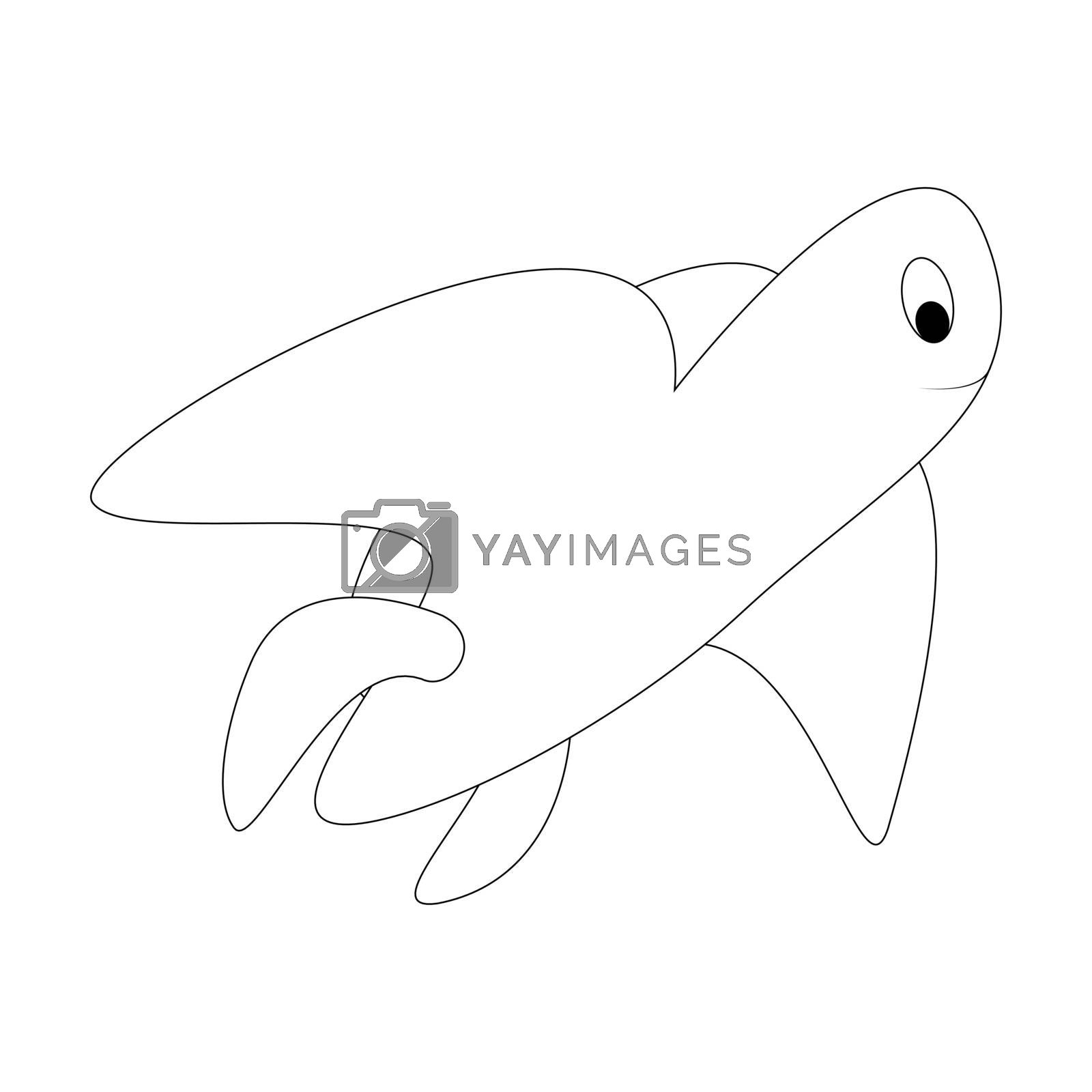 Cartoon turtle outline. Vector illustration isolated on white background. Decoration for greeting cards, posters, flyers, prints for clothes.