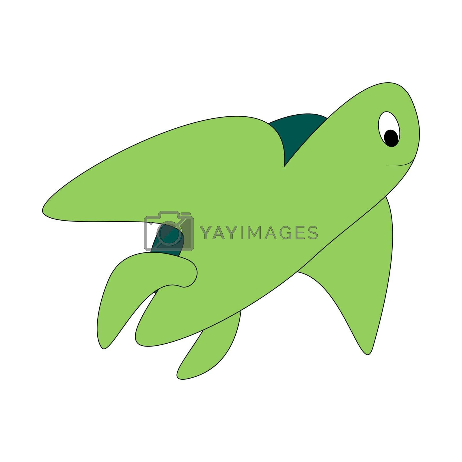 Cartoon color turtle outline. Vector color illustration isolated on white background. Decoration for greeting cards, posters, flyers, prints for clothes.
