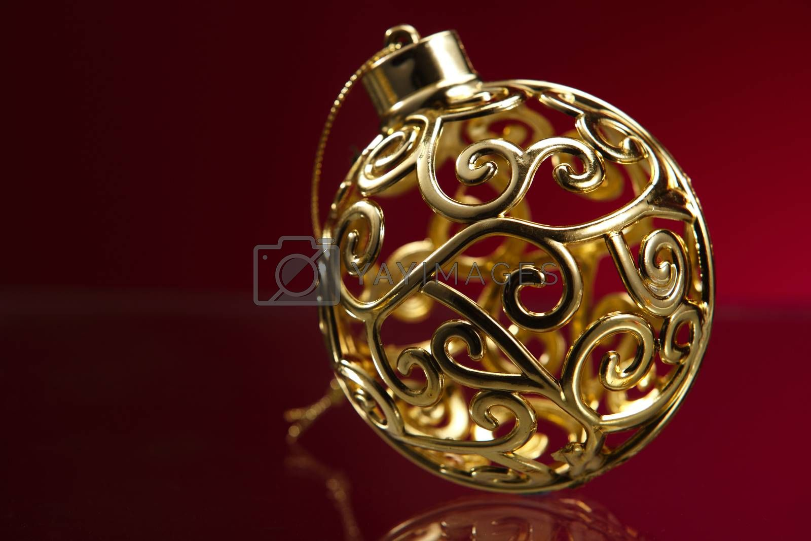 Christmas Ornament on the red background