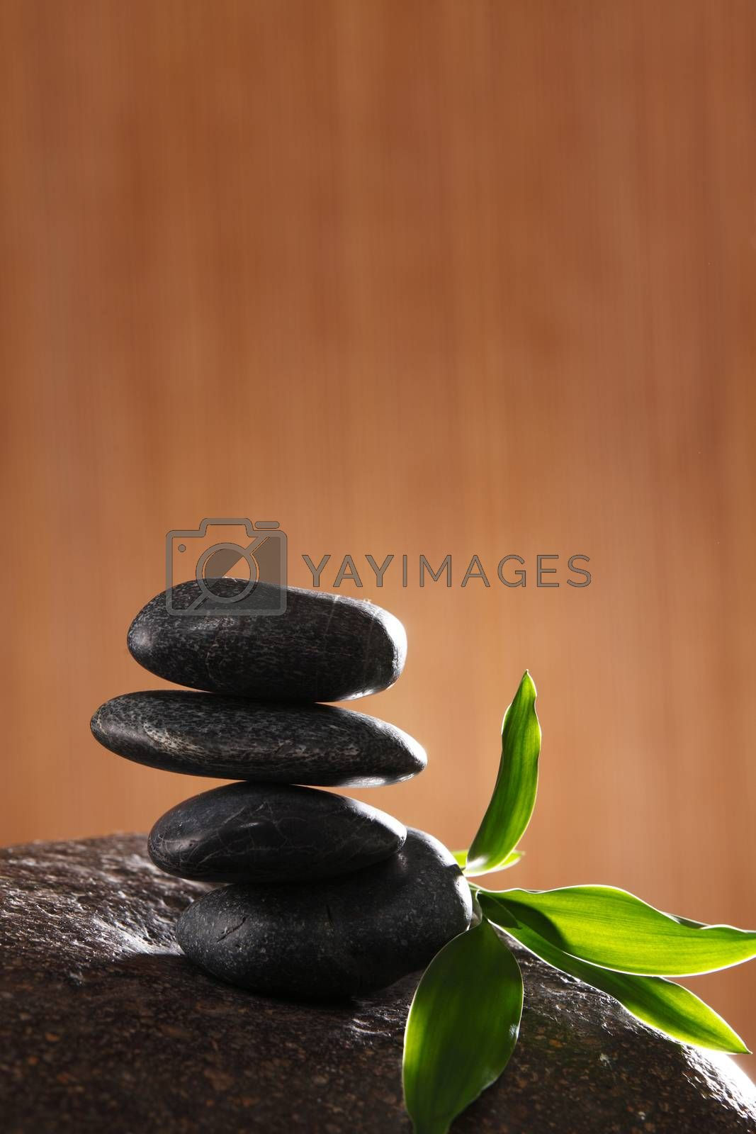 stack of the stone and bamboo leaf