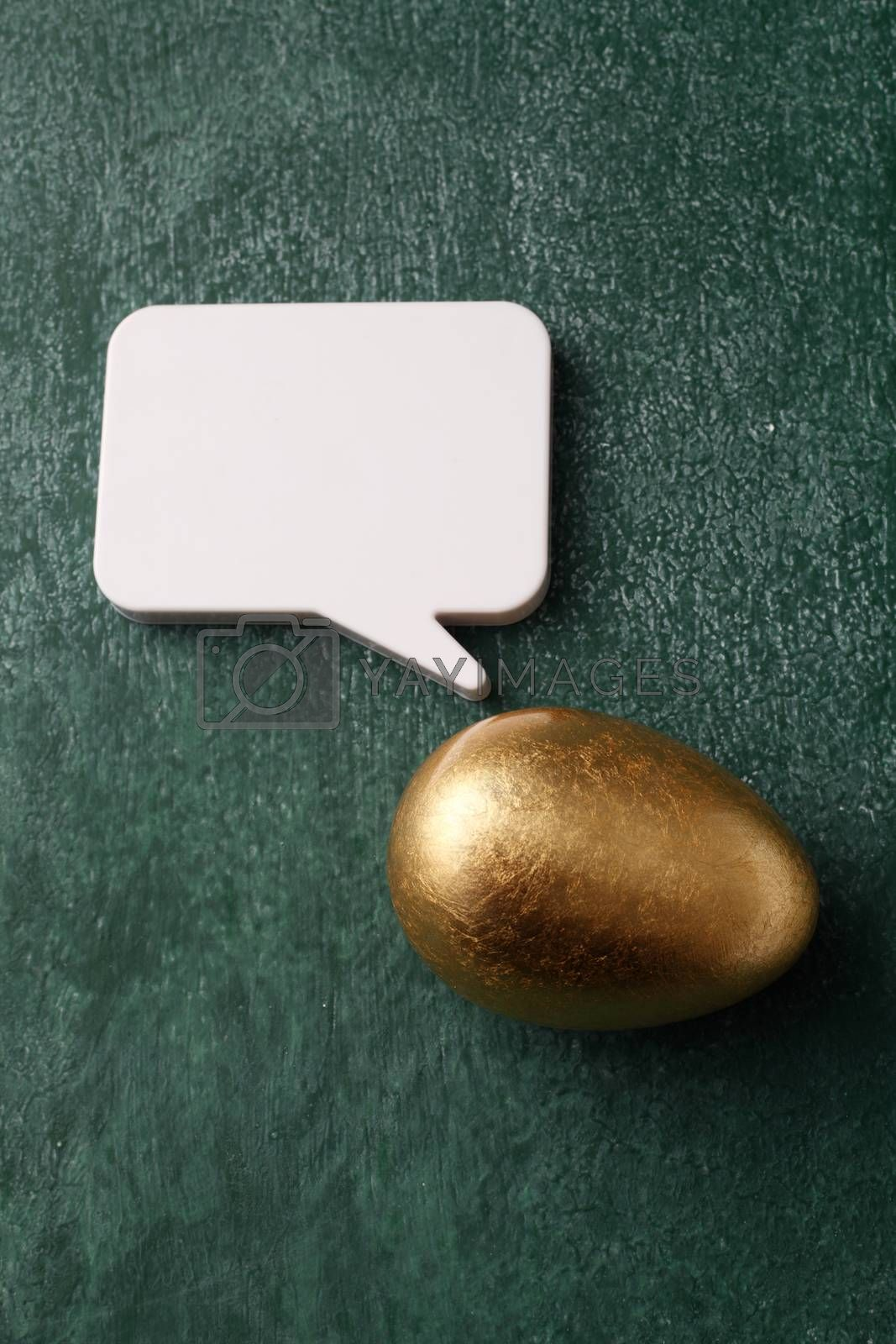 Golden egg and the speech bubble
