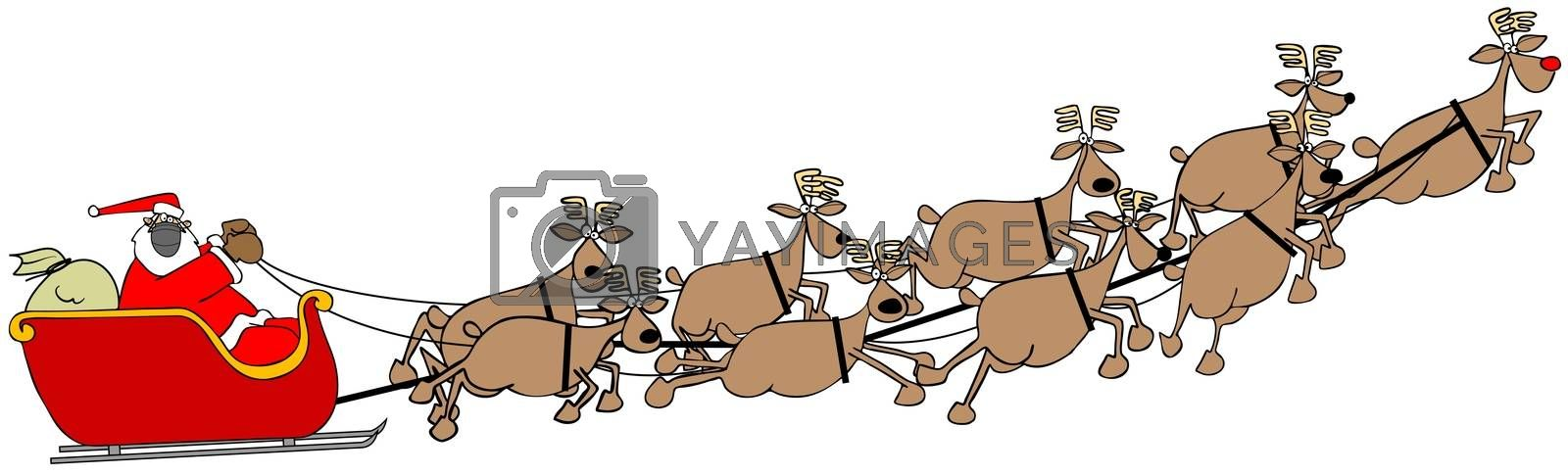 Illustration of Santa Claus in his sleigh full of gifts being pulled by nine reindeer, all wearing face masks.