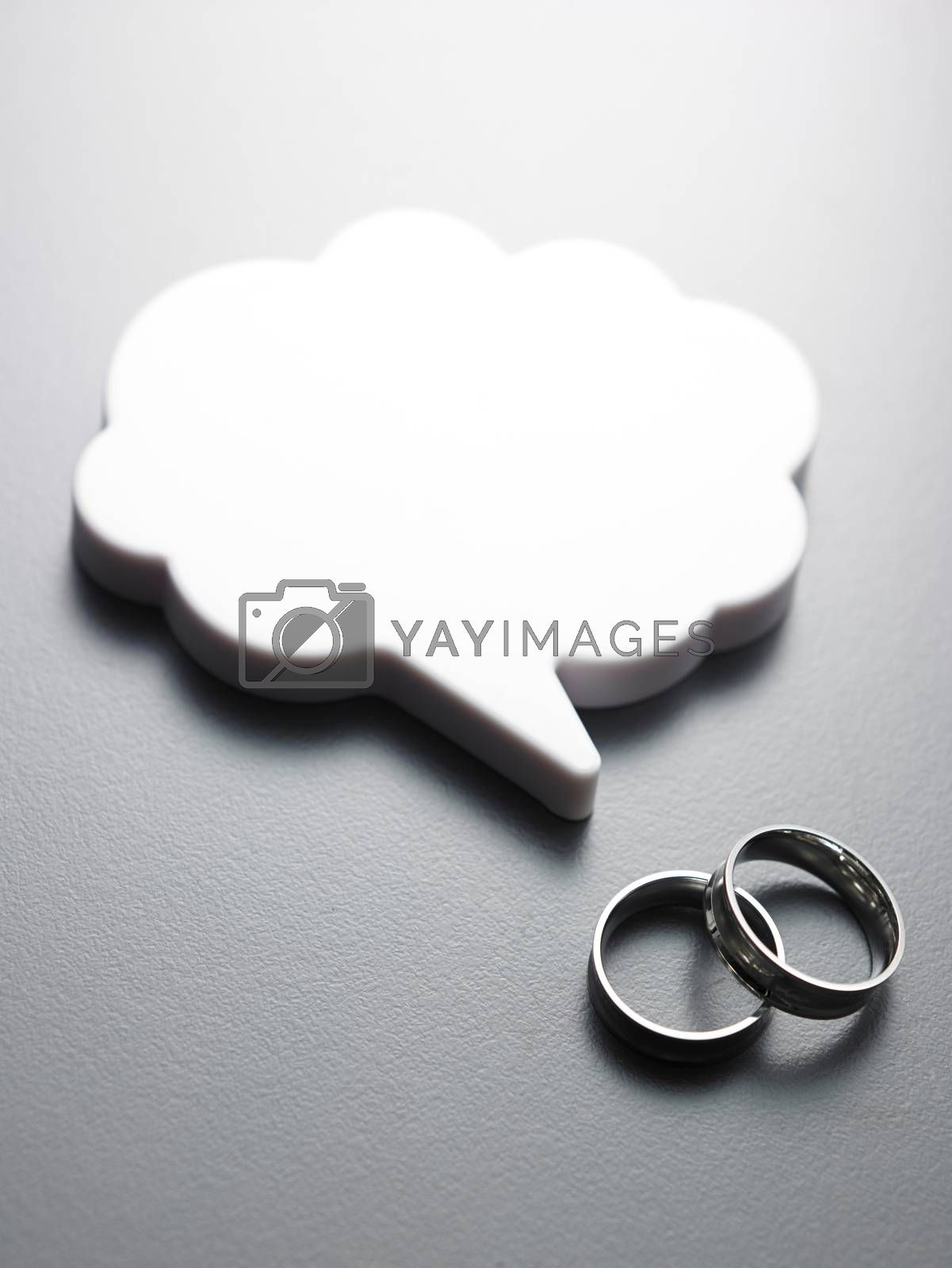 wedding ring and the speech bubbles