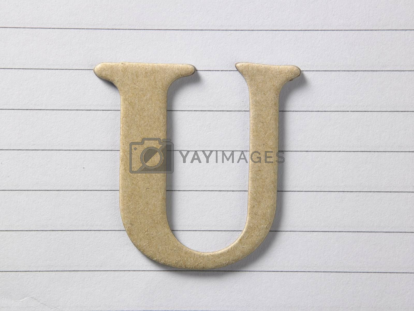 close up of alphabet u on single line book