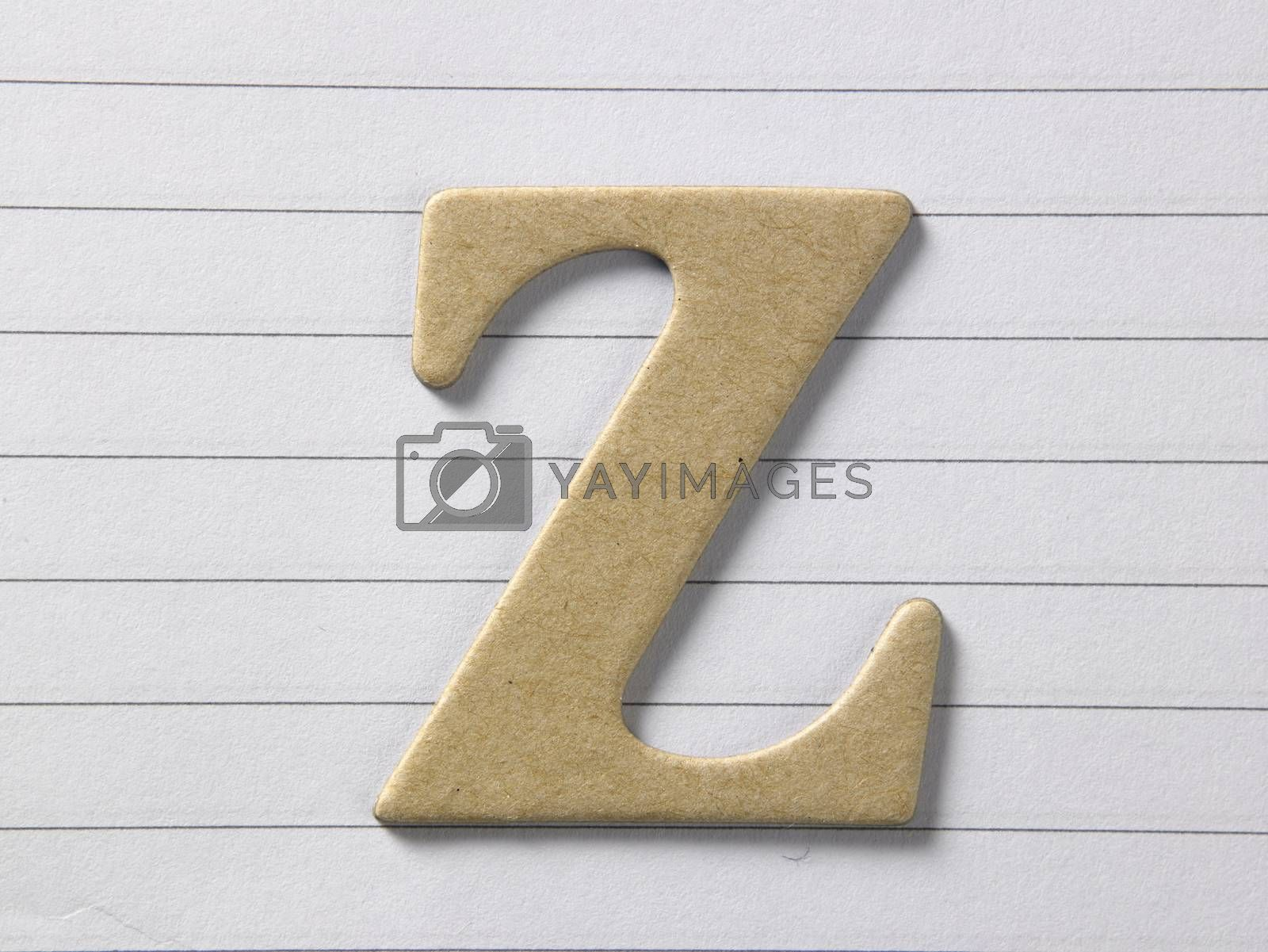 close up of alphabet z on single line book