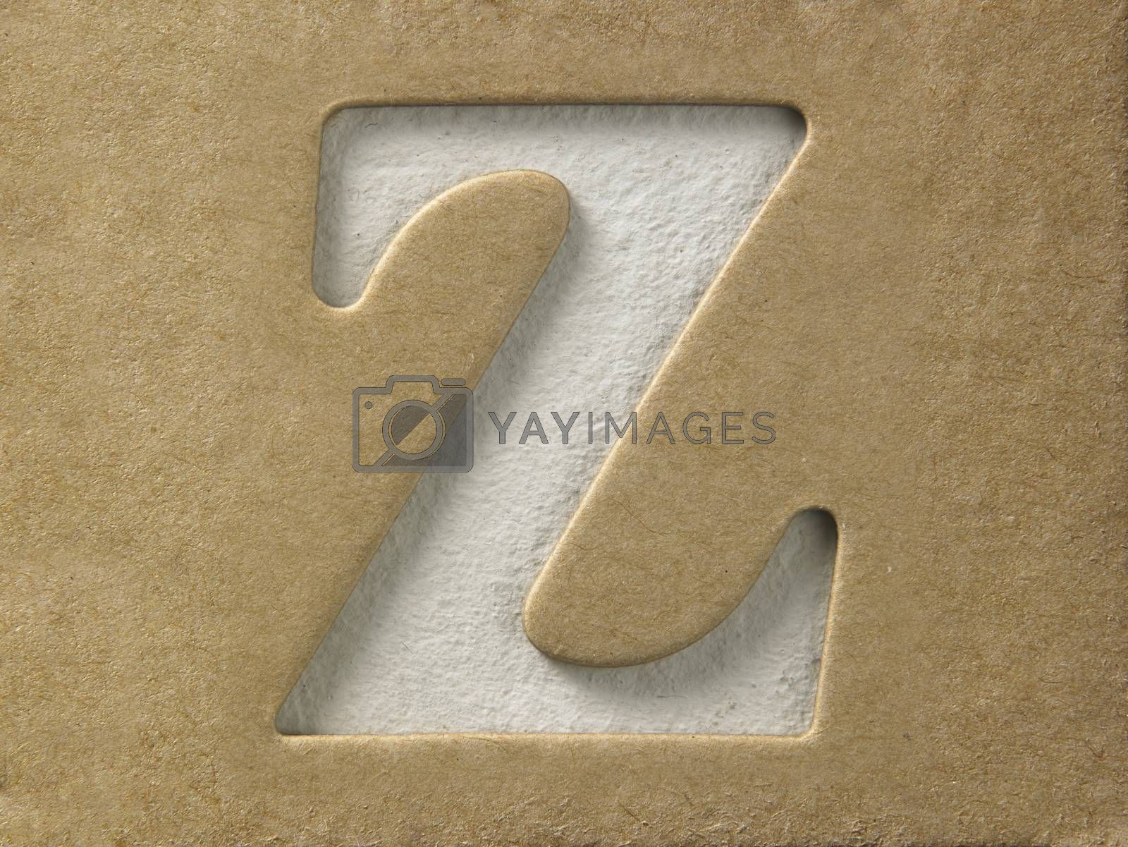 cut out alphabet z on the brown cardboard