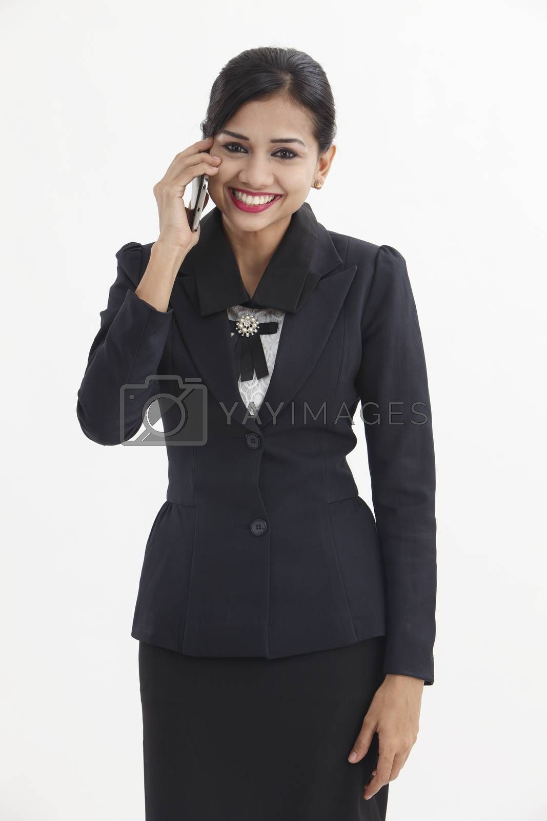 happy business woman talking on the phone