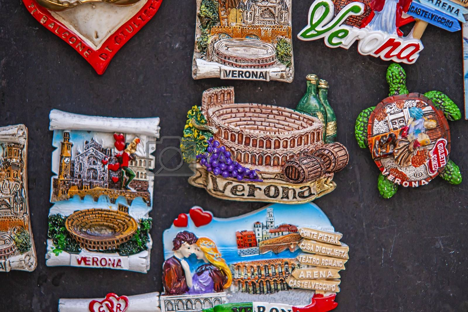 VERONA, ITALY 10 SEPTEMBER 2020: Verona souvenirs detail texture