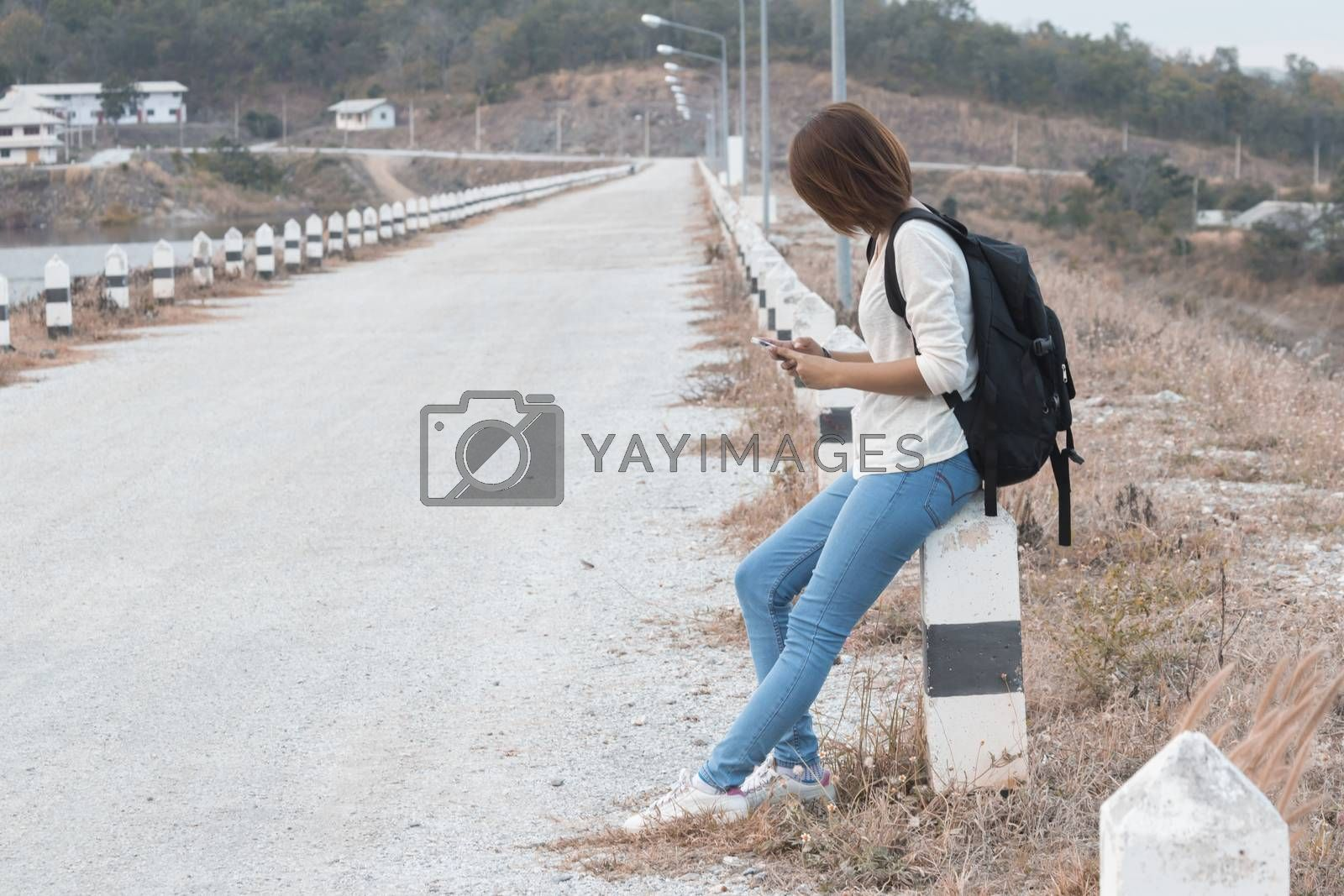 Woman hangout Traveling Holiday use smart phone
