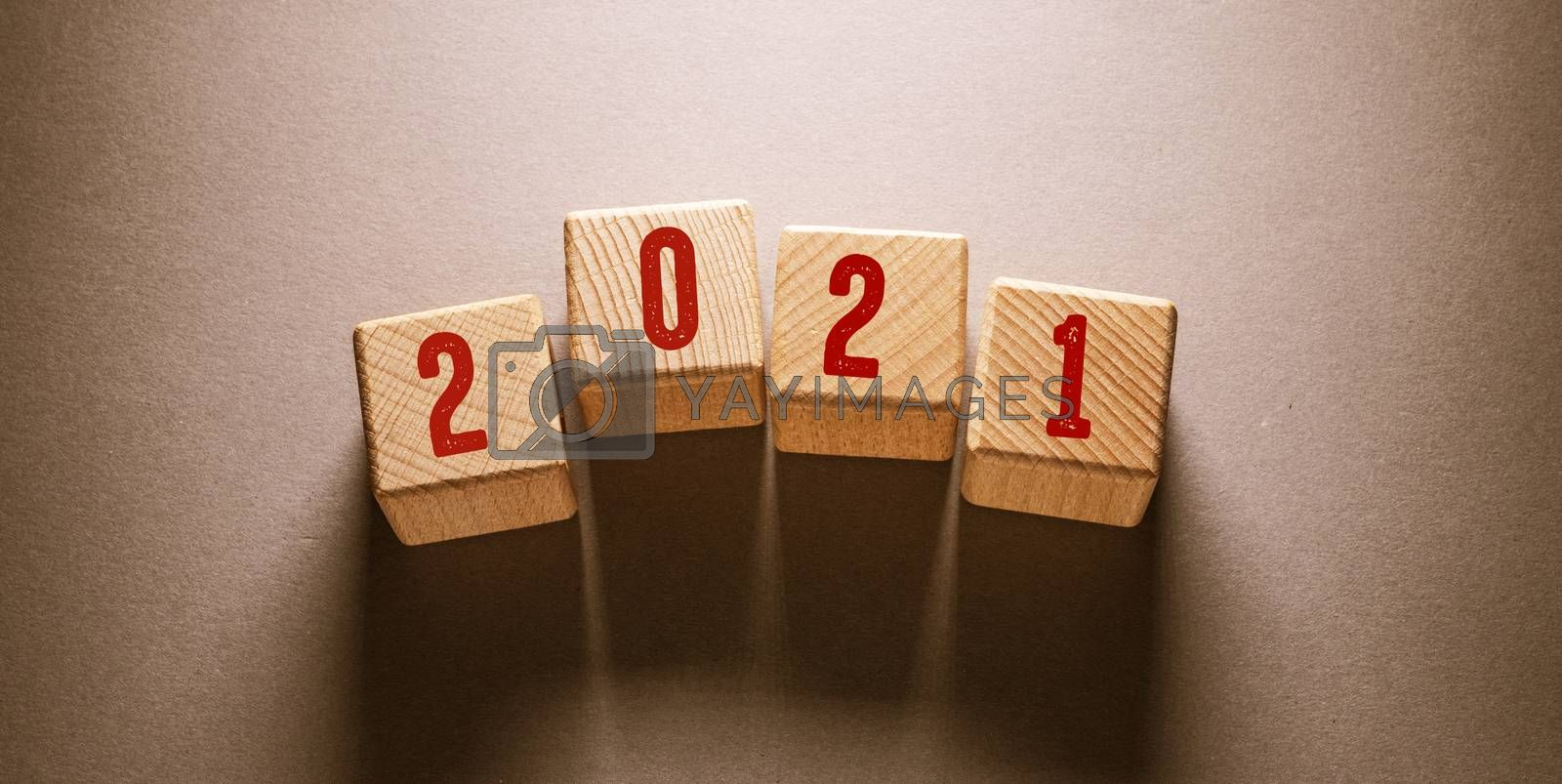 2021 Word Written on Wooden Cubes