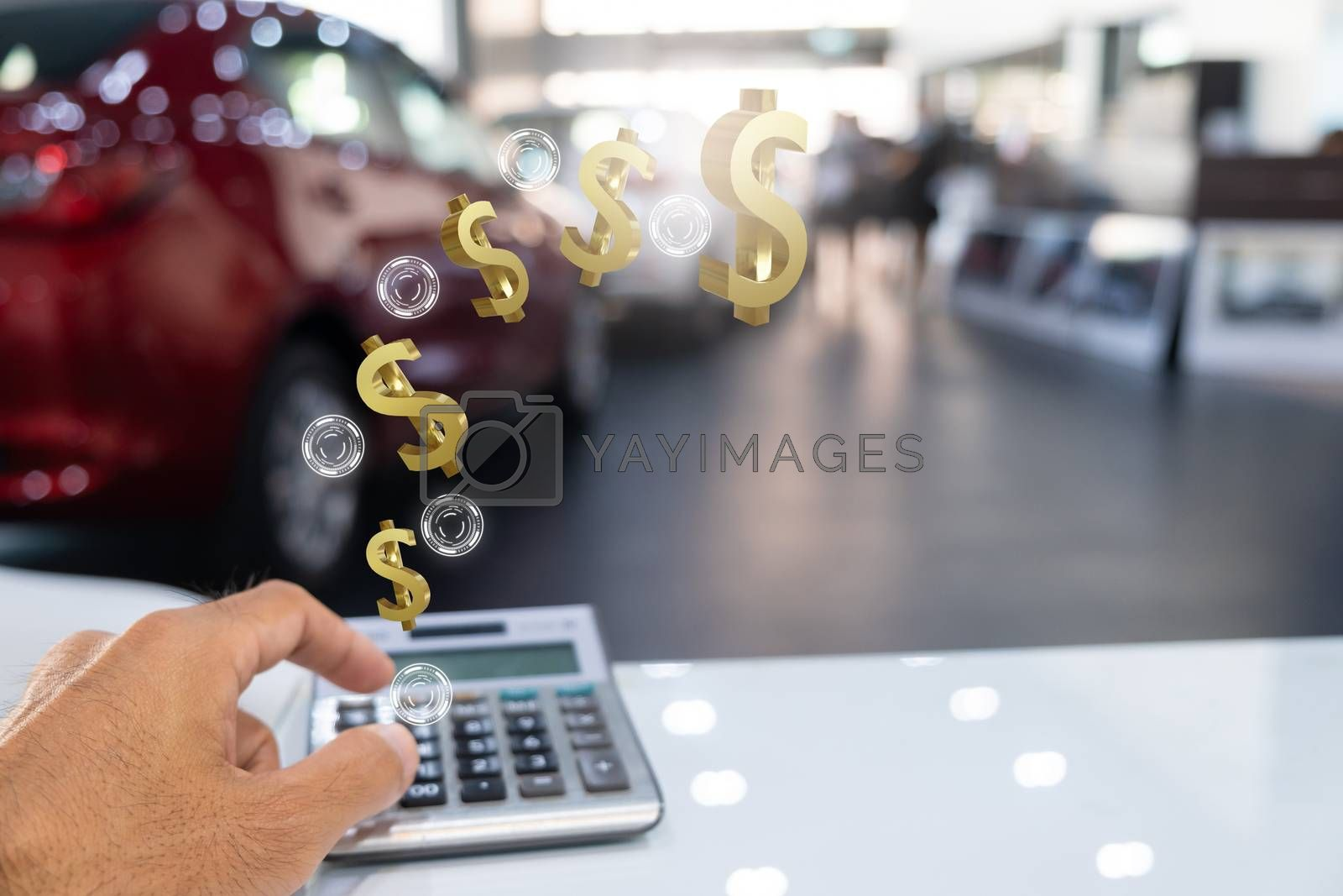 Asian man holding calculator for business finance on car showroo by oatzpenzstudio