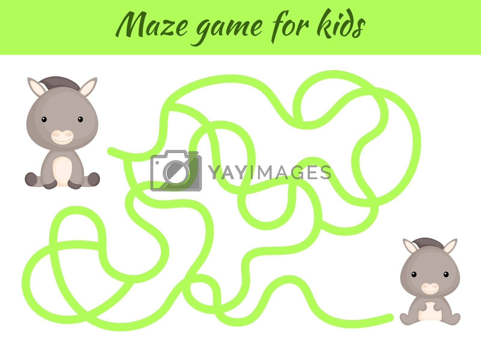 Funny maze or labyrinth game for kids. Help mother find path to baby. Education developing worksheet. Activity page. Cartoon donkey characters. Riddle for preschool. Color vector stock illustration.