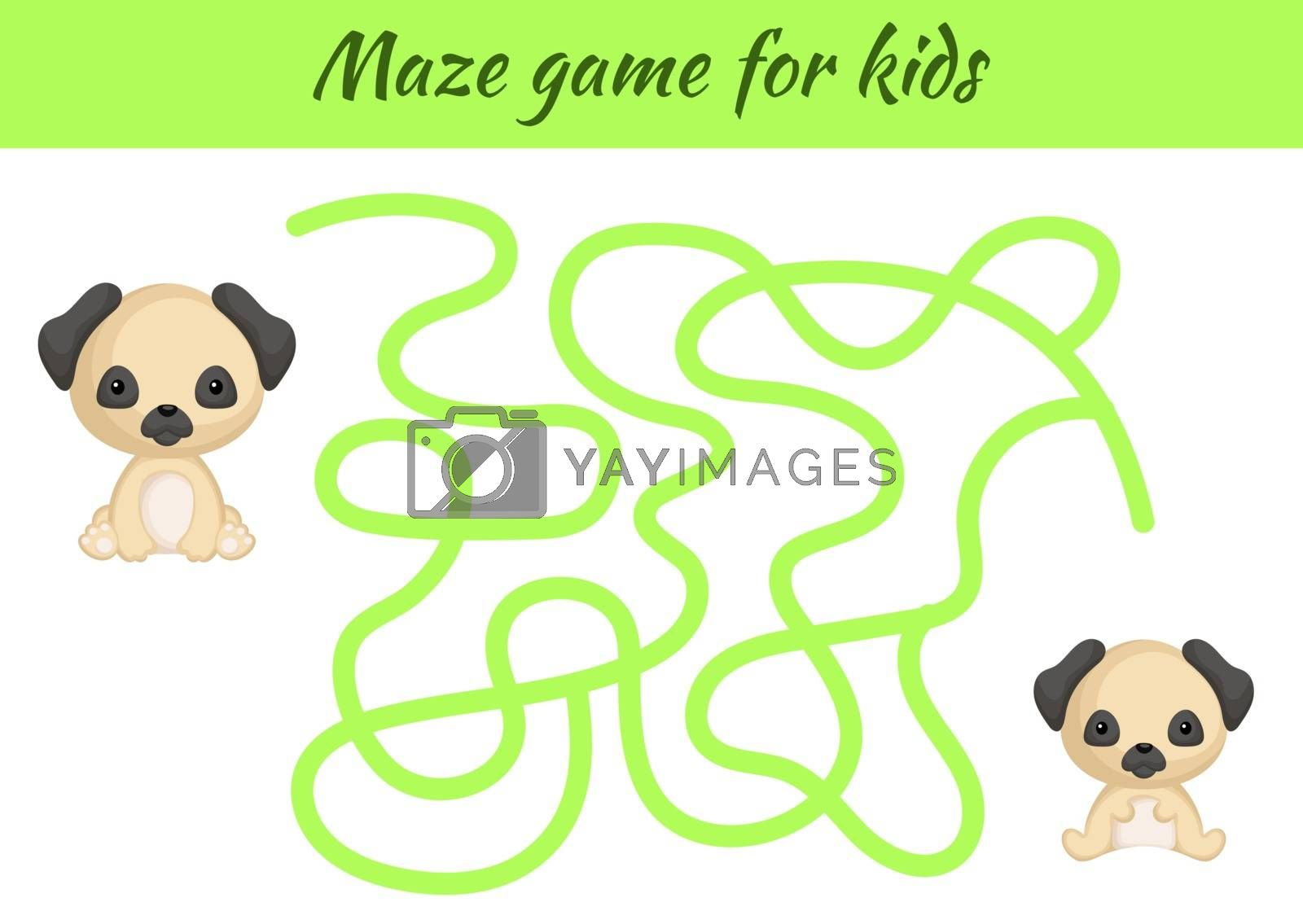 Funny maze or labyrinth game for kids. Help mother find path to baby. Education developing worksheet. Activity page. Cartoon pug dog characters. Riddle for preschool. Color vector stock illustration.