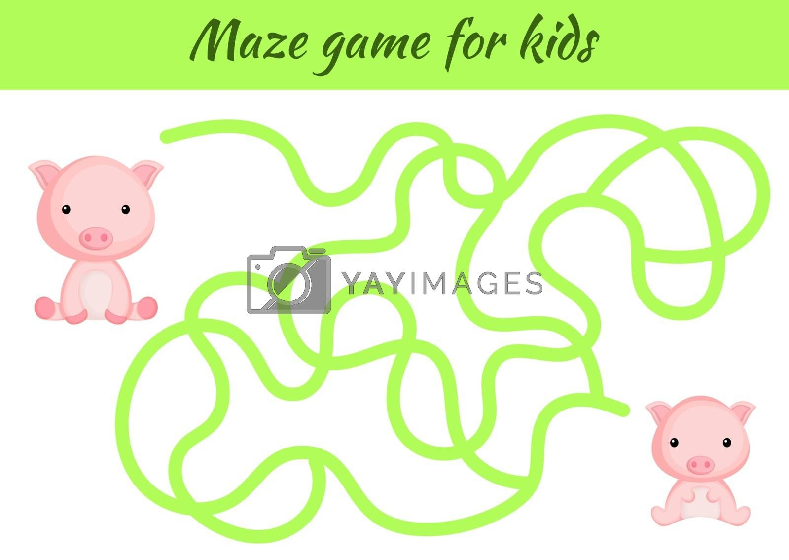 Funny maze or labyrinth game for kids. Help mother find path to baby. Education developing worksheet. Activity page. Cartoon pig characters. Riddle for preschool. Color vector stock illustration.