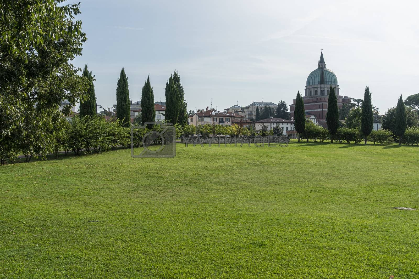 Udine, Italy. September 10, 2020. View of the entrance of the Moretti Park in Udine