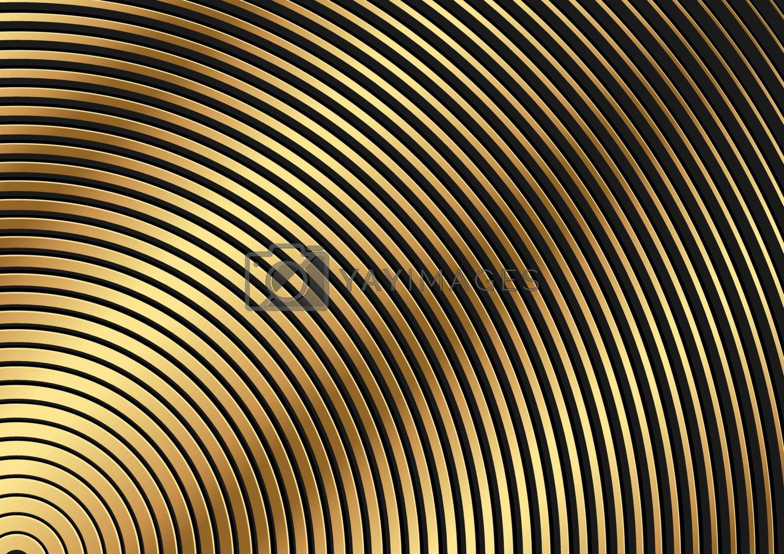 Golden Circular Striped Pattern - Abstract Background Illustration for Your Graphic Design, Vector