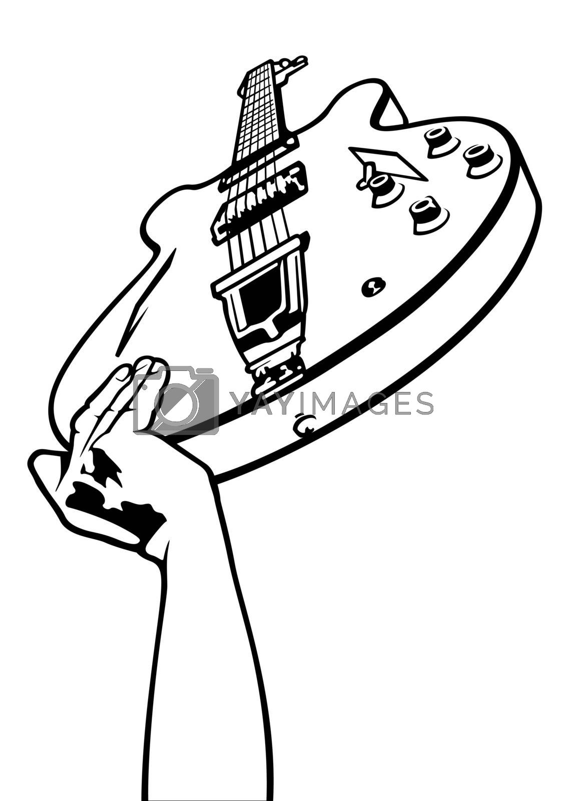 Electric Guitar Overhead - Black and White Drawing, Vector Graphic