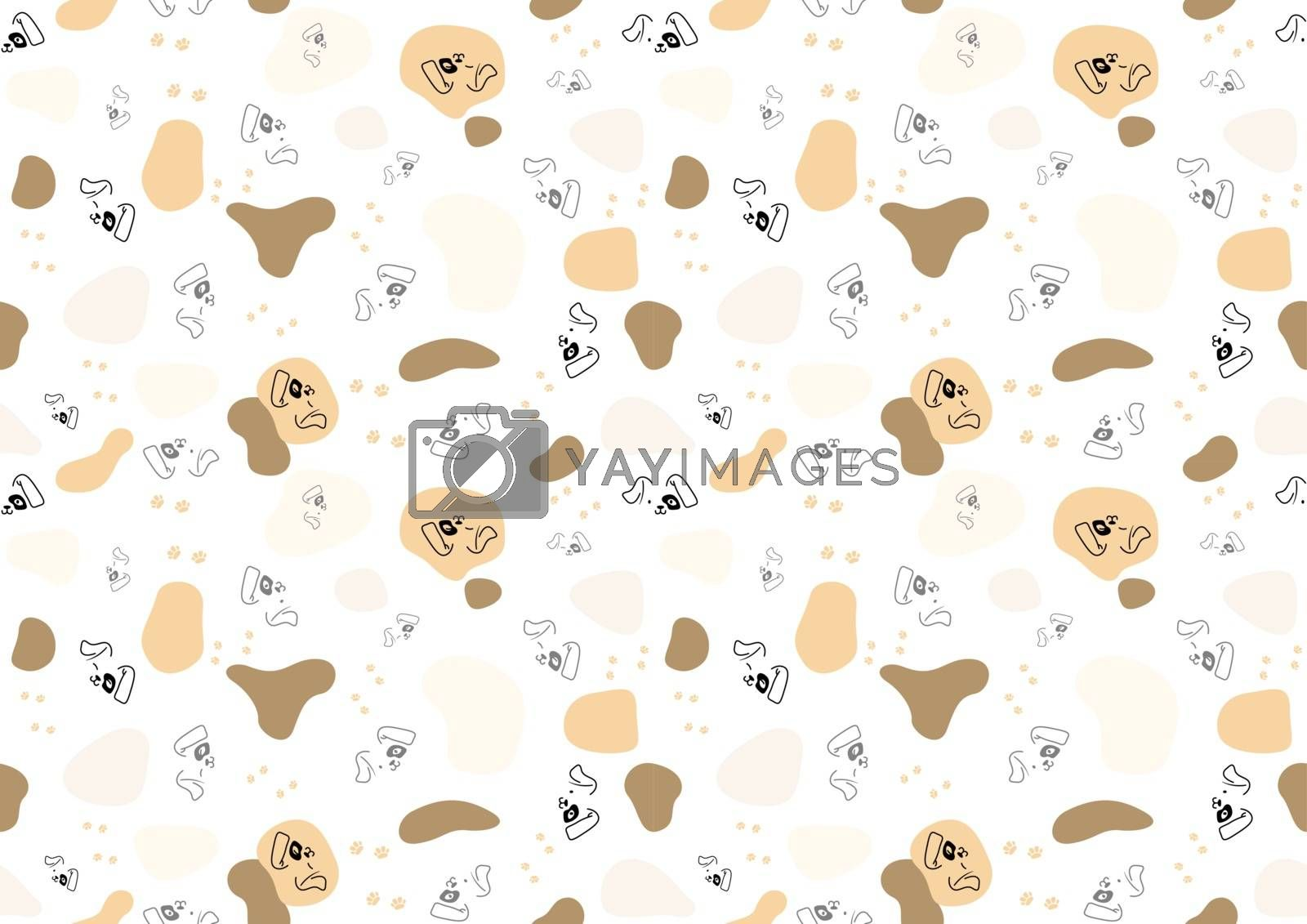 Seamless Baby Pattern with Dog Face and Spots - Repetitive Print Texture Illustration, Vector