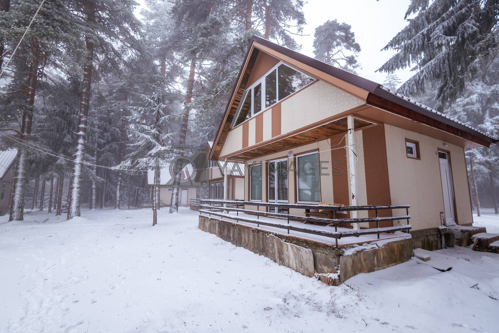 Little house in Bulgaria at winter.