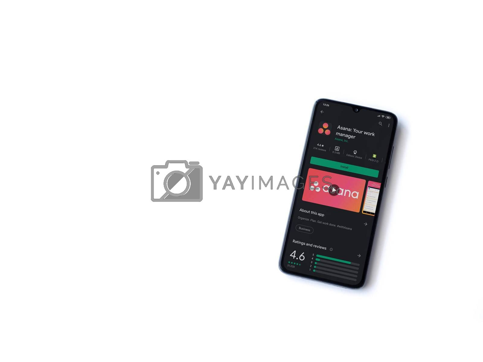 Lod, Israel - July 8, 2020: Asana app play store page on the display of a black mobile smartphone isolated on white background. Top view flat lay with copy space.