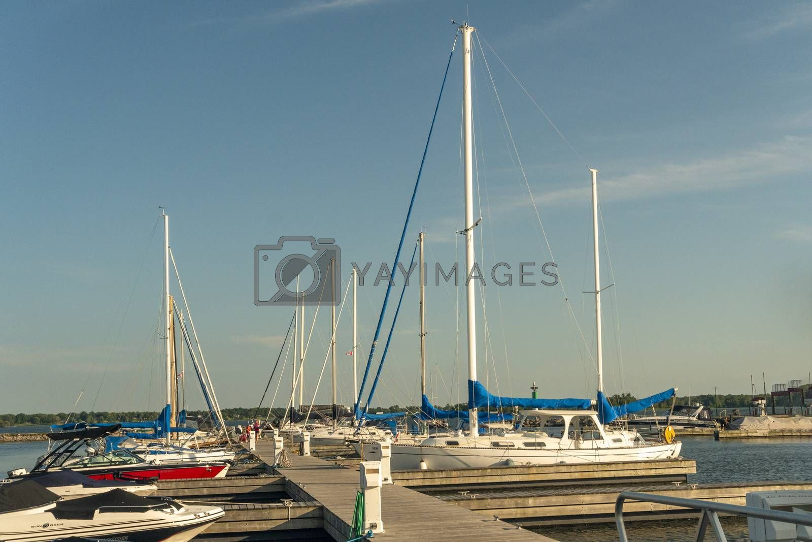 On the river near the city in a small bay there is a pier for water transport of yachts  and boats