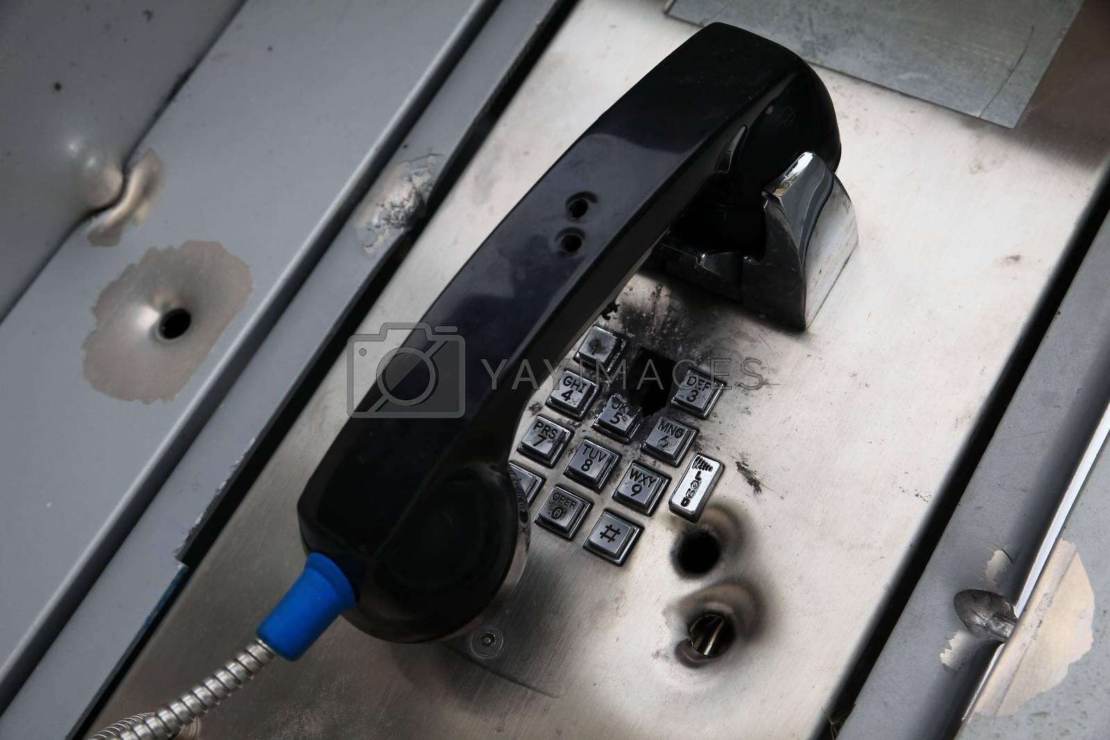 shot phone box with bullet holes Alaska USA
