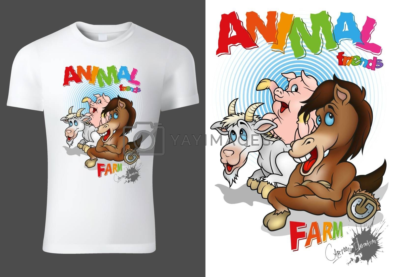 White Child T-shirt Design with Cartoon Farm Animal Characters - Cheerful Unisex Illustration with Horse,Goat and Pig, Vector