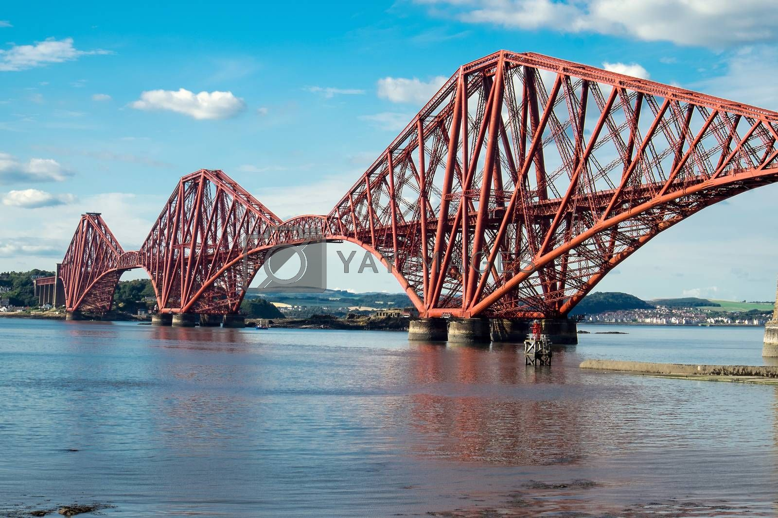 The impressing railway bridge over the Firth of Forth in Scotland
