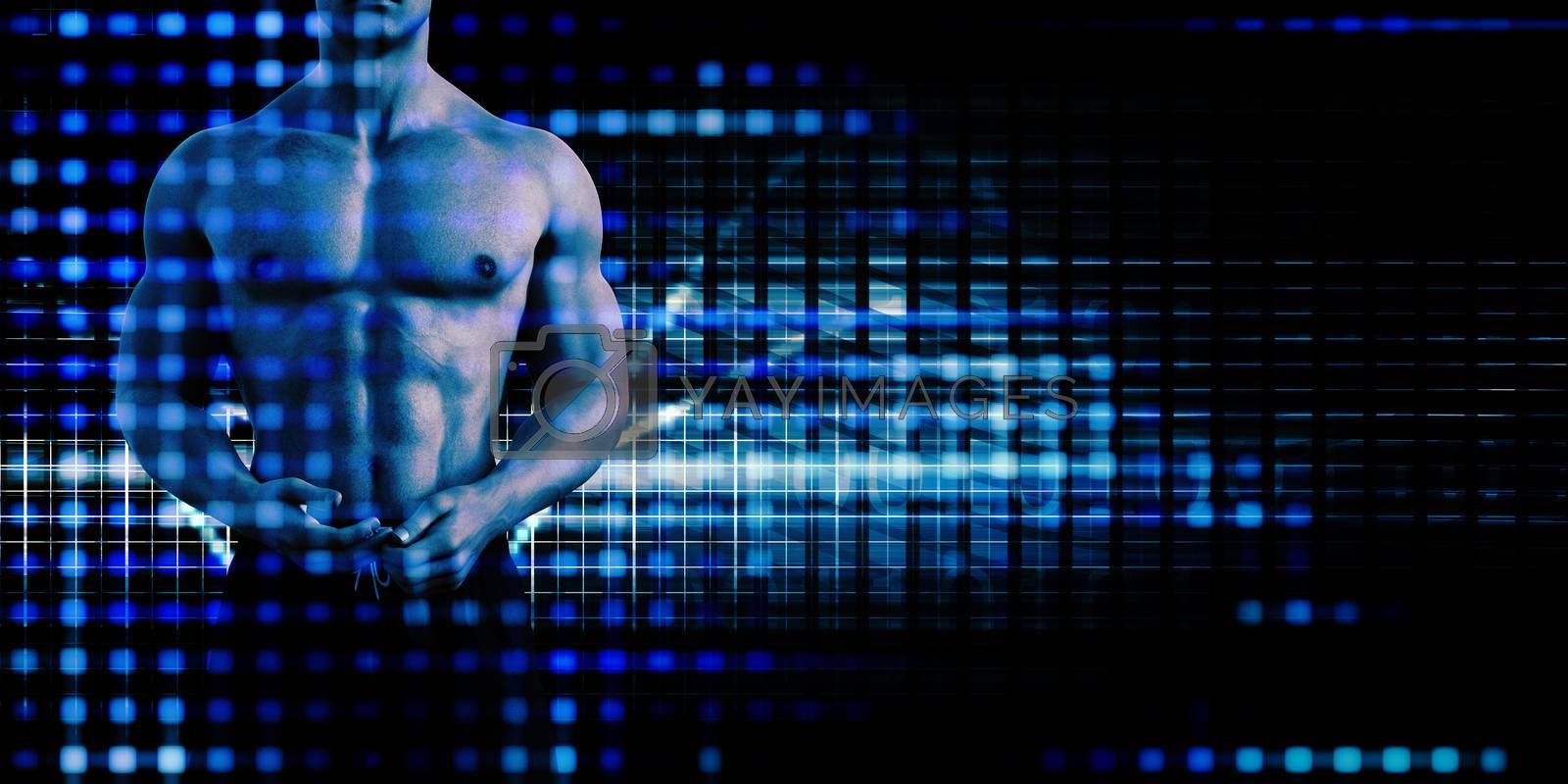 Sports Tech Innovation with Technology Background Theme