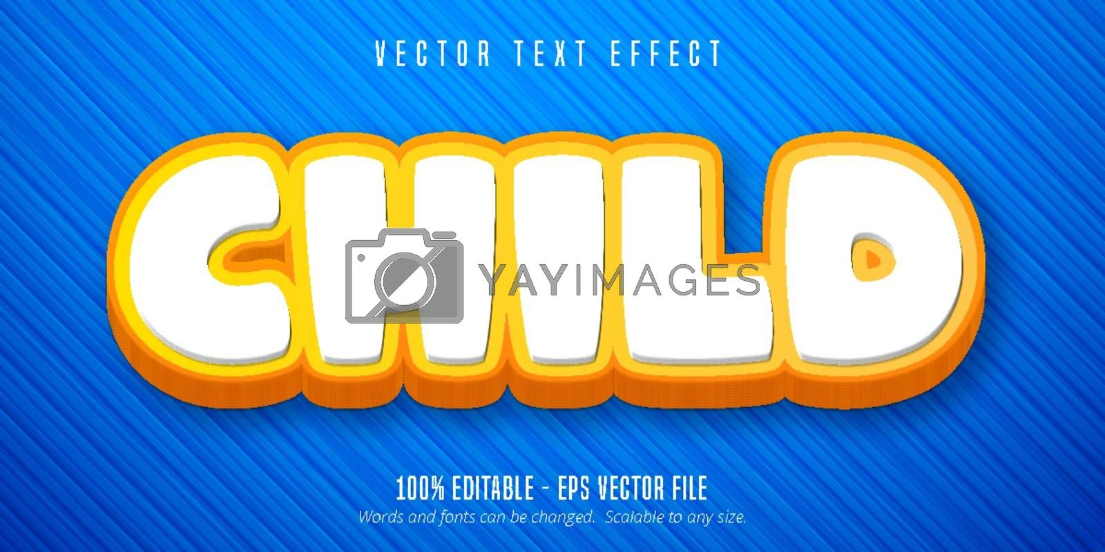 Child text, cartoon style editable text effect