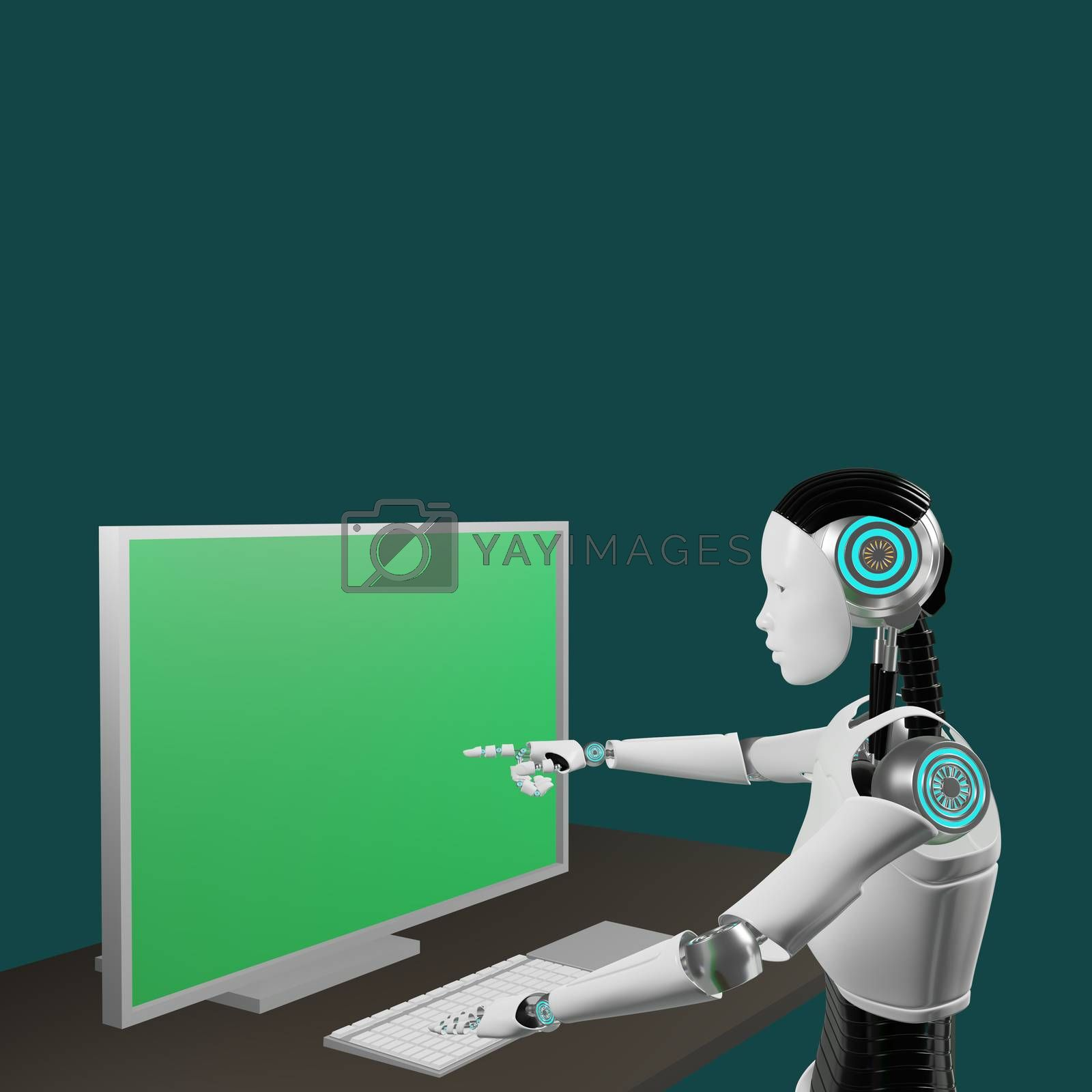 Royalty free image of Android is pointing at monitor of computer with green screen by eaglesky