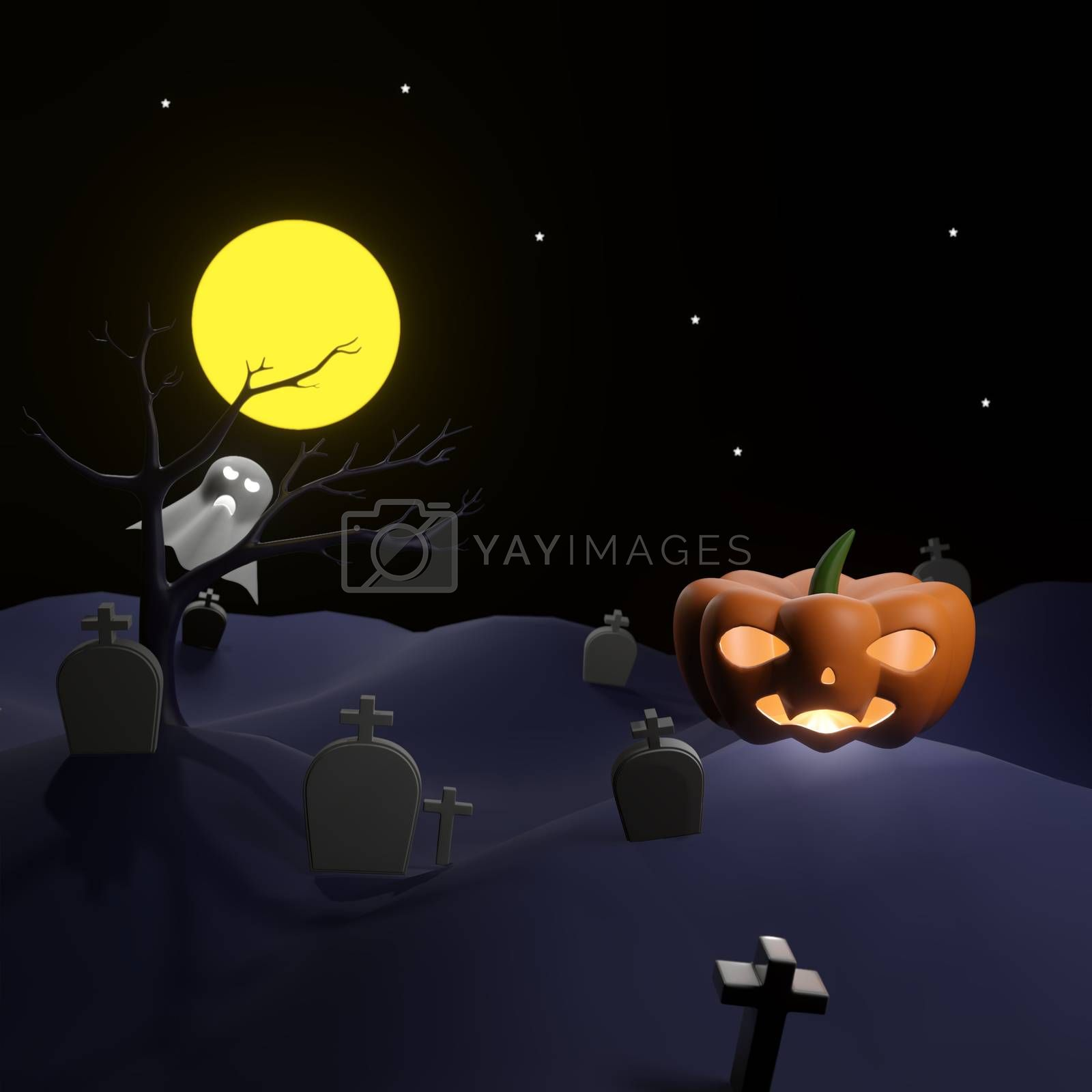 Royalty free image of Orange pumpkin on graveyard with full moon and pleiades by eaglesky