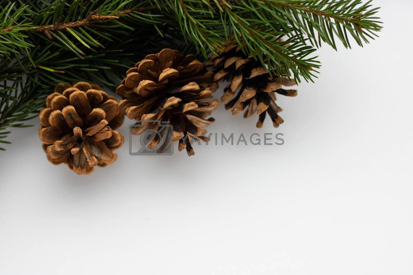 Christmas composition. Christmas silver decorations on white background.