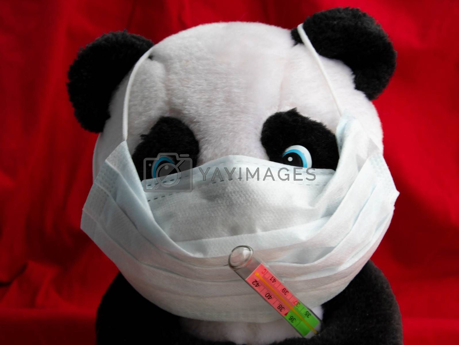 A toy panda in a medical mask with a thermometer sits on a red background. Coronavirus treatment concept