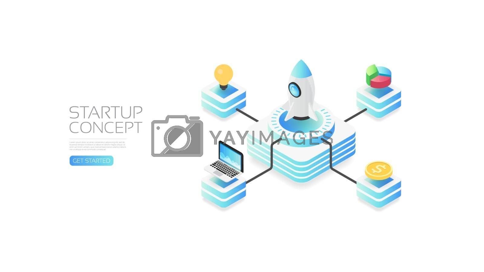 Isometric startup concept, data analysis, business concept