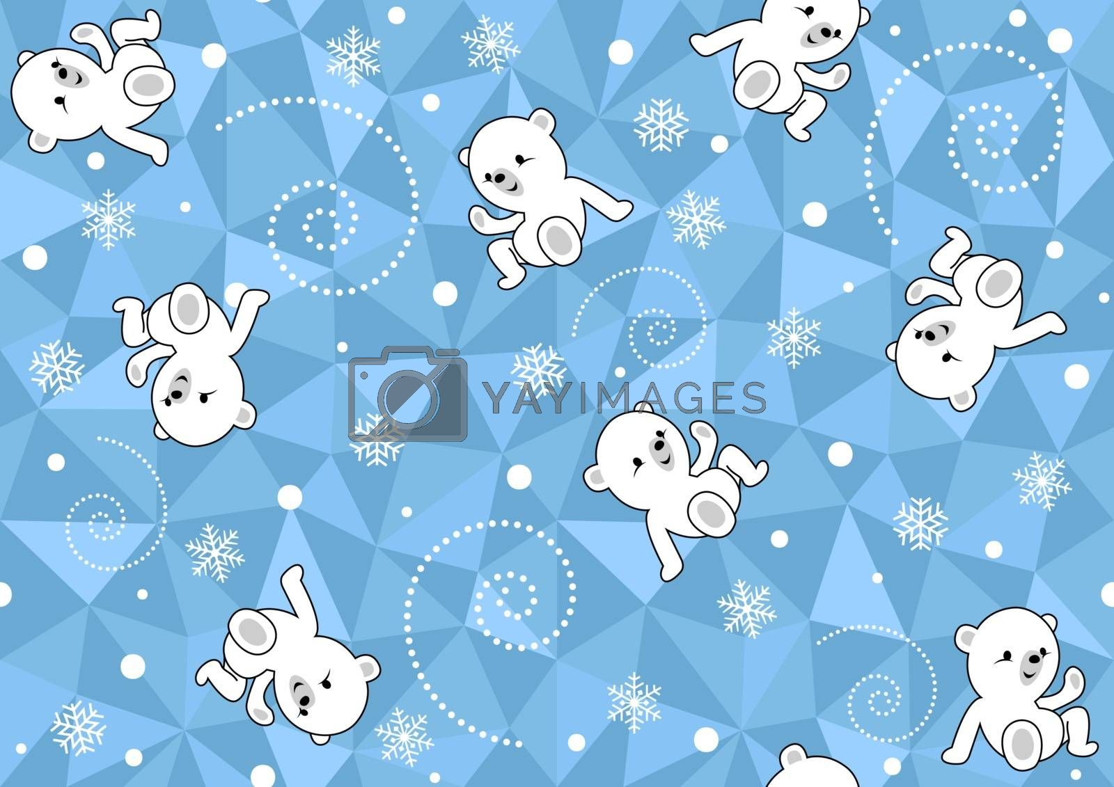 Seamless Baby Pattern with Polar Bear on Blue Polygonal Background - Wintry Repetitive Print Texture, Vector Illustration