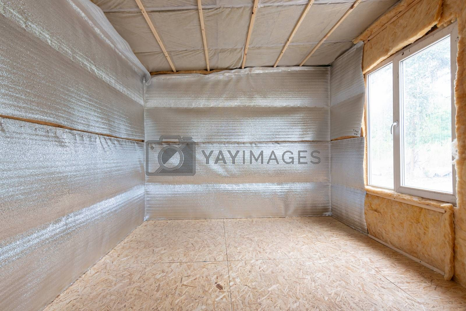 Thermal insulation of a country house, vapor barrier film made of reflective polyethylene foam laminated with lavsan for house insulation