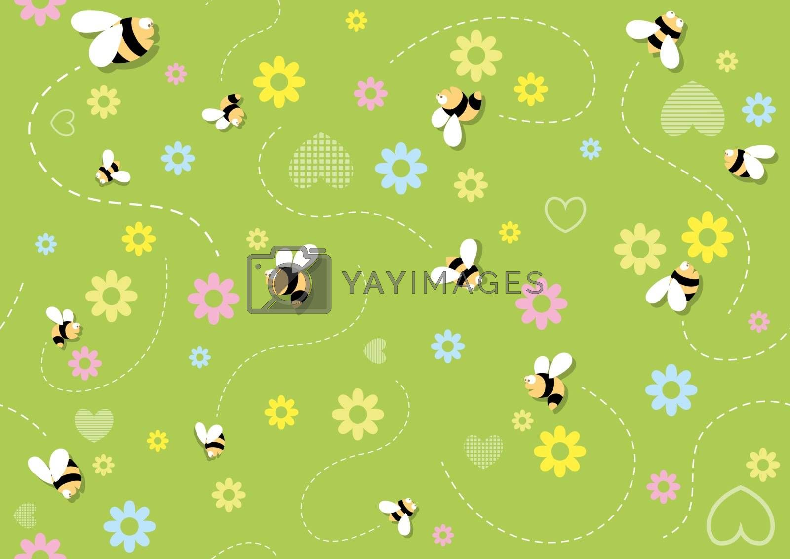 Seamless Baby Pattern with Bees on Green Flowering Background - Repetitive Print Texture, Vector Illustration