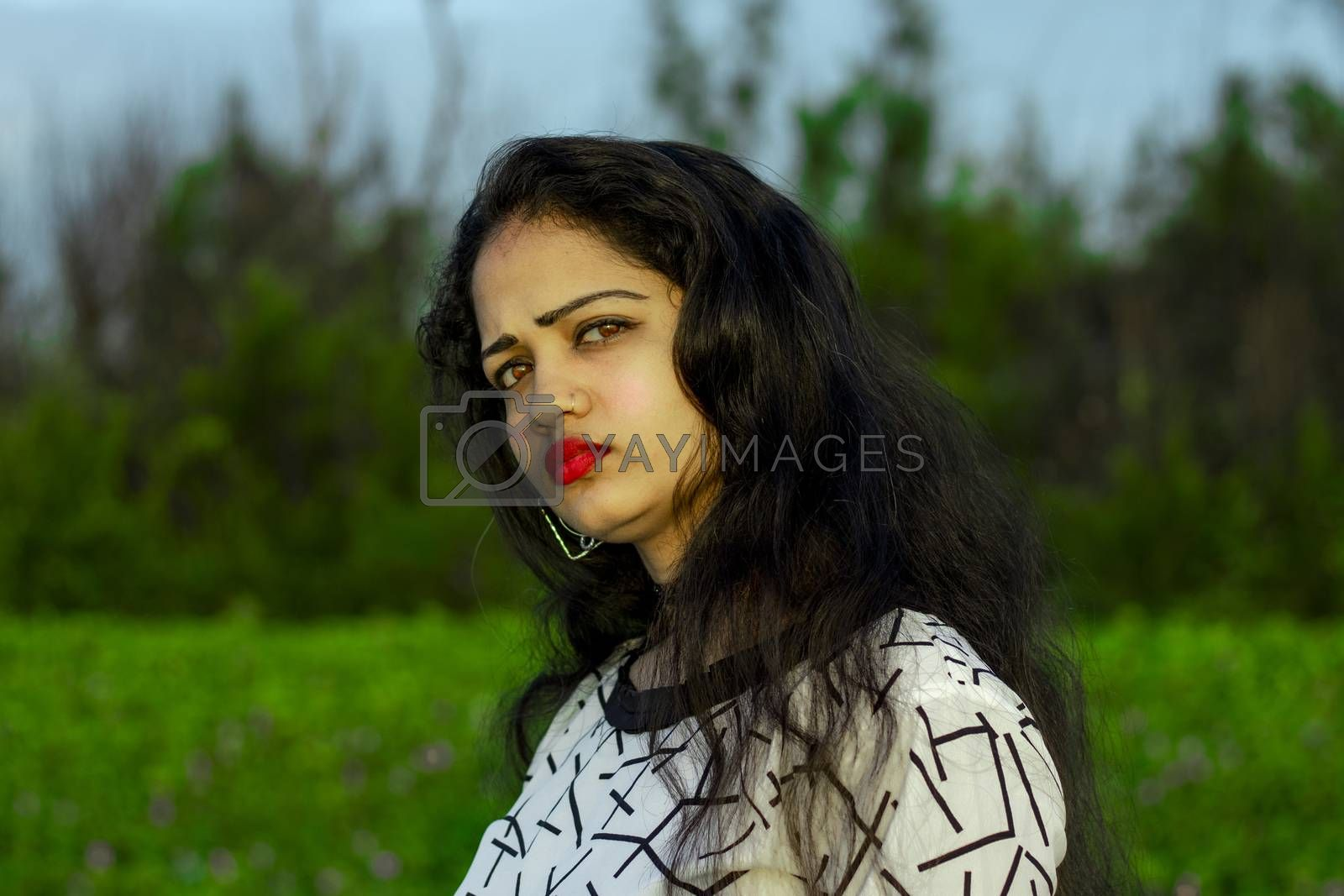 beautiful female model face beauty outdoors portrait