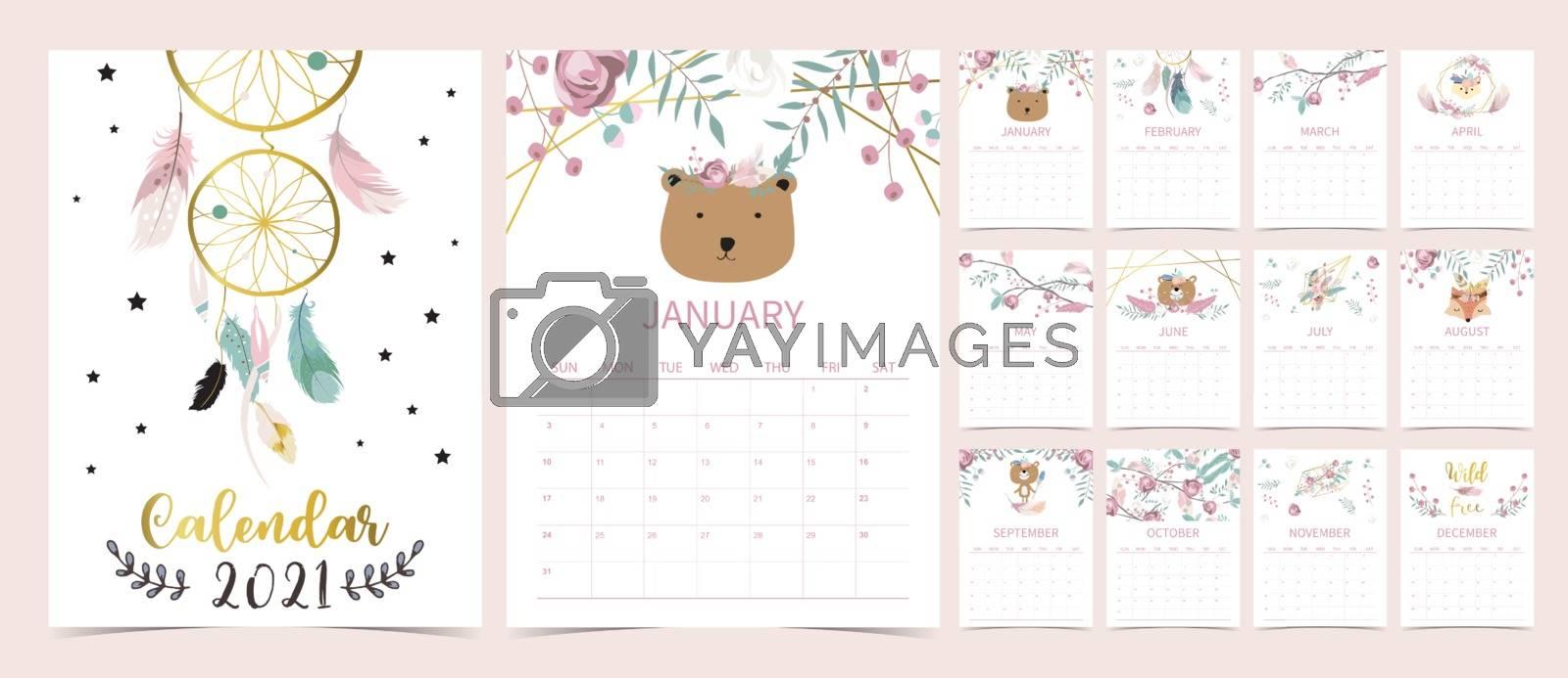 Cute boho calendar 2021 with bear, dreamcatcher, feather for children, kid, baby