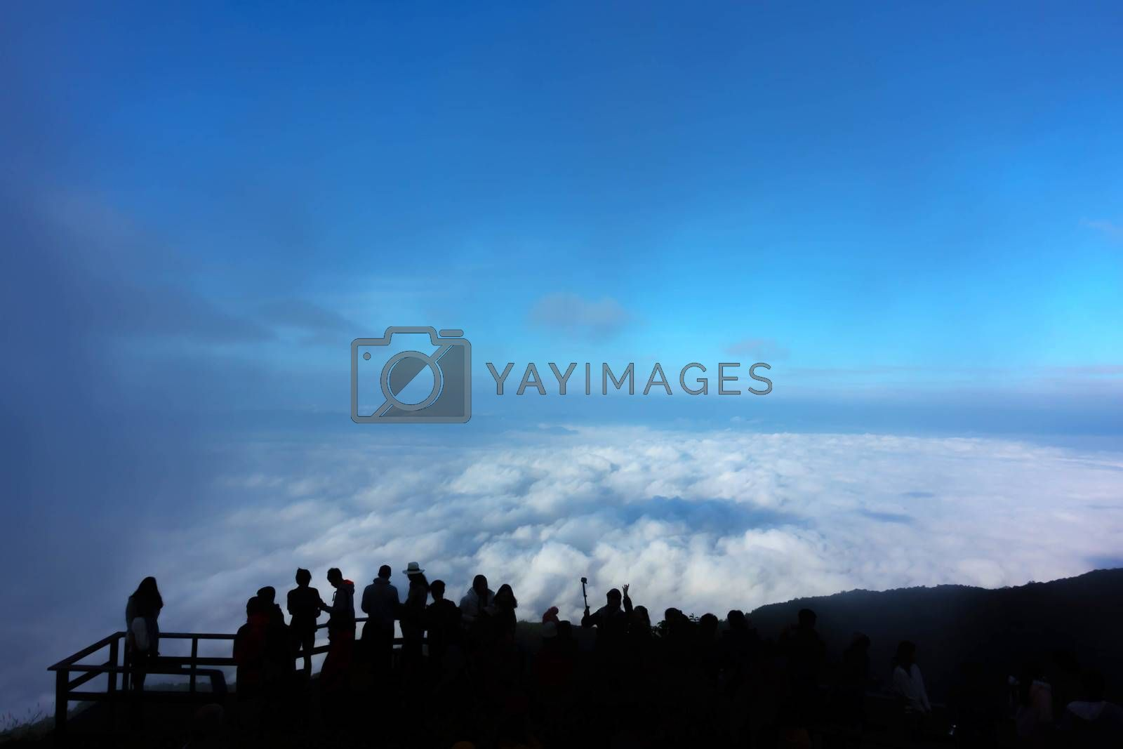 Viewpoint with cloud and blue sky at Kew Mae Pan nature trail on Doi Inthanon national park, Chiangmai, Thailand
