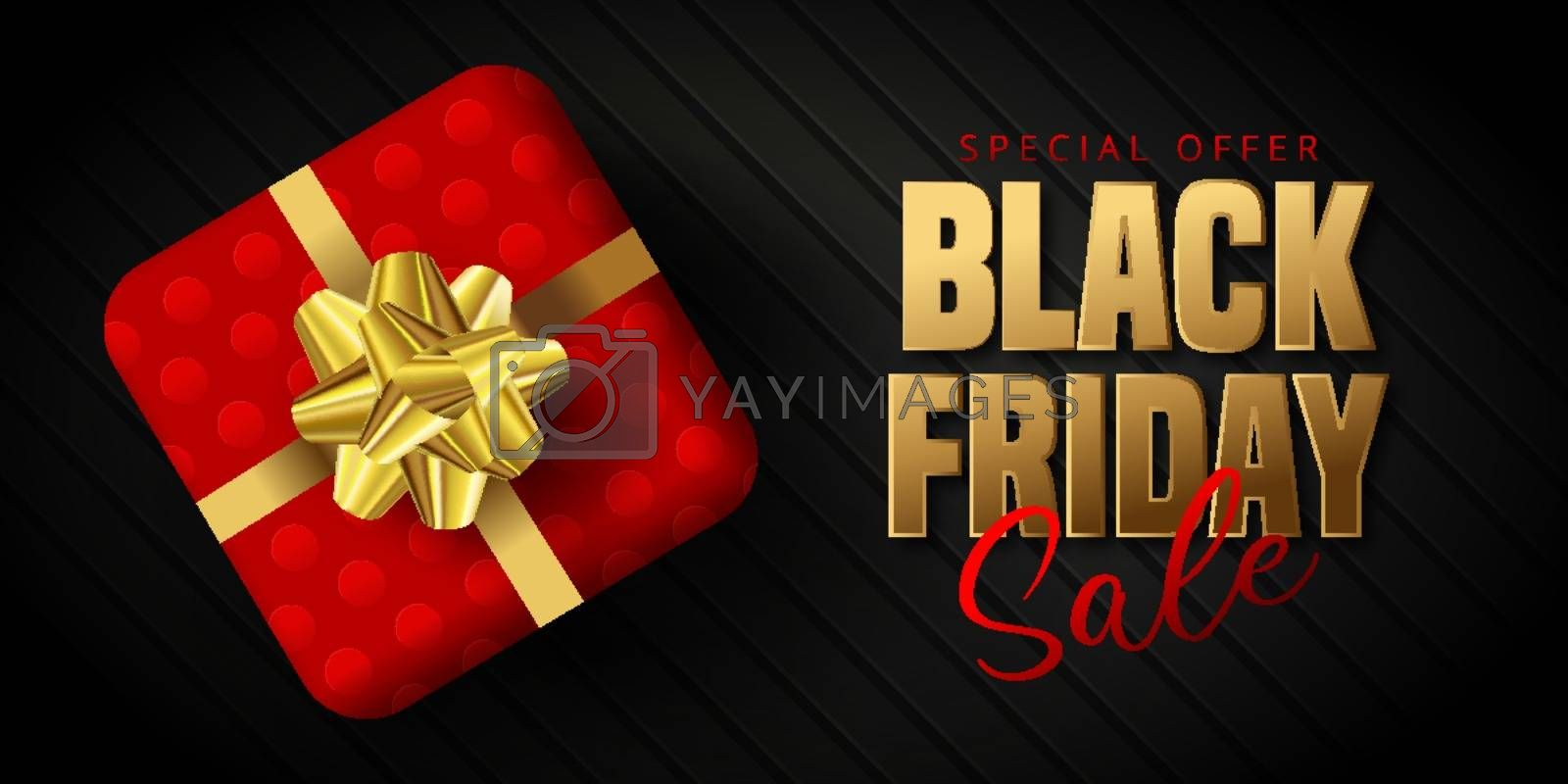 Black Friday Sale banner, poster, flyer design with gift box on black background. Modern design template for advertisement, social and fashion ads