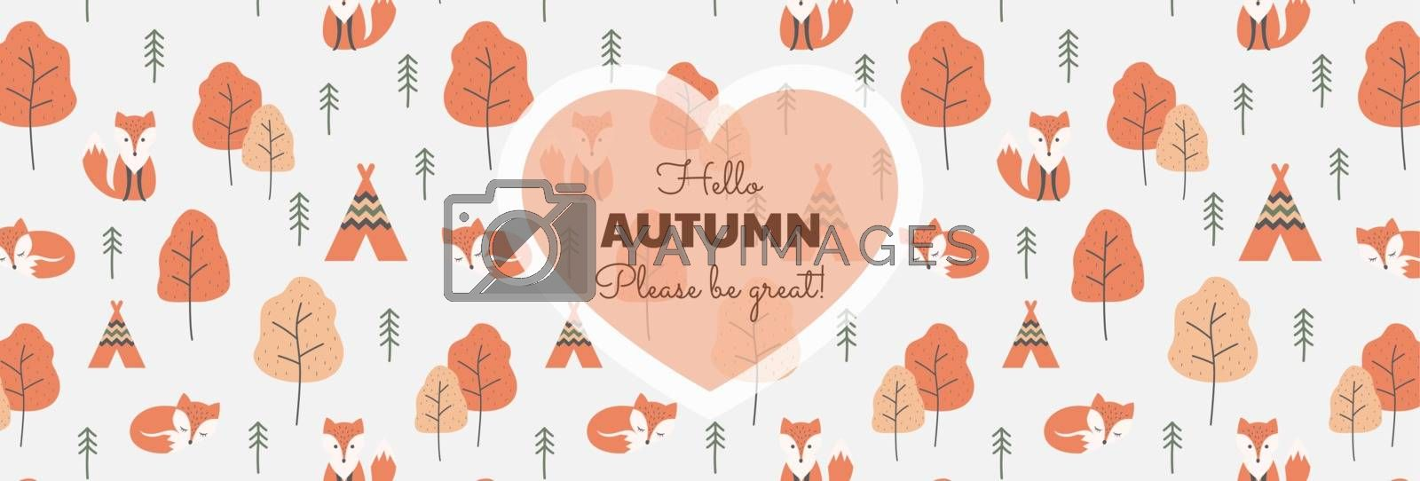 Text lettering with foxes and trees background, autumn colors vector